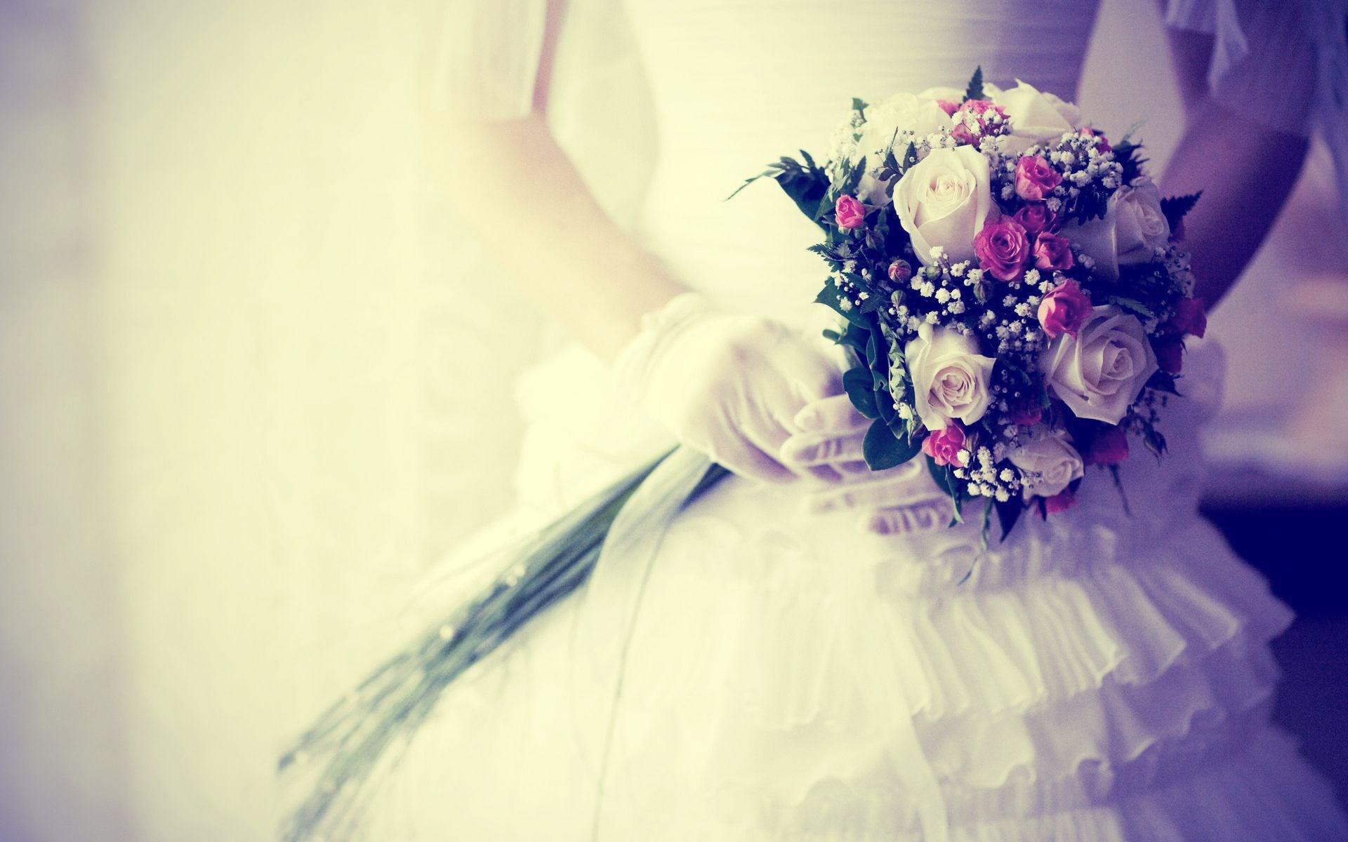 Bride Bouquet Flowers Gloves Wedding