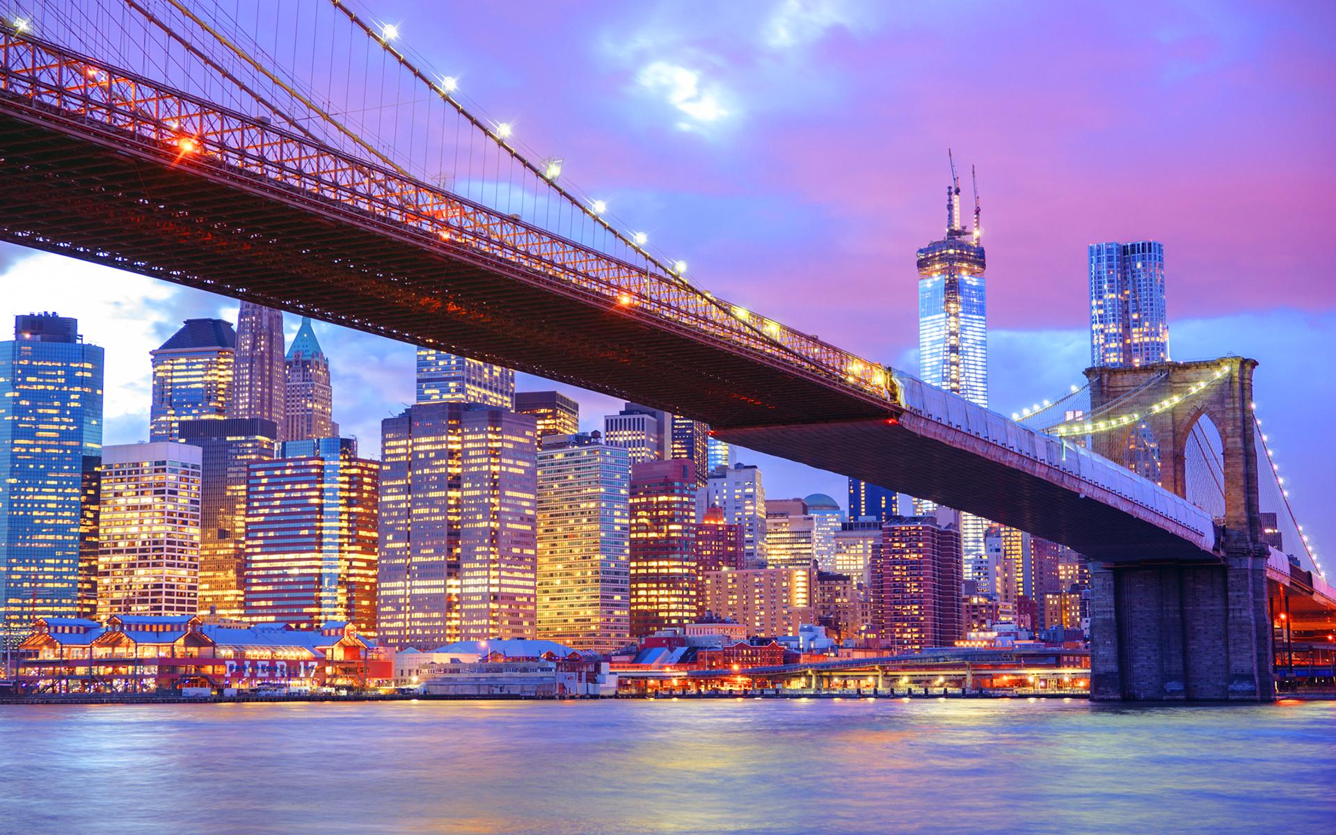 Brooklyn bridge city lights