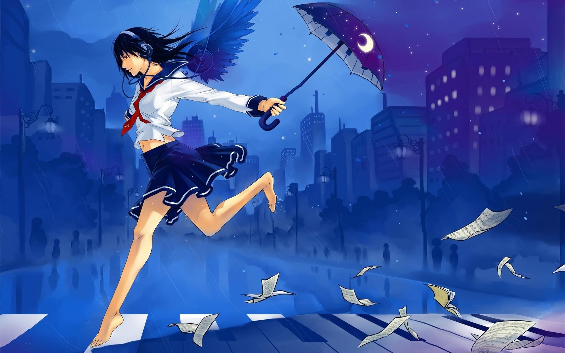 Brunette Anime Girl Umbrella Headphones Music Artwork