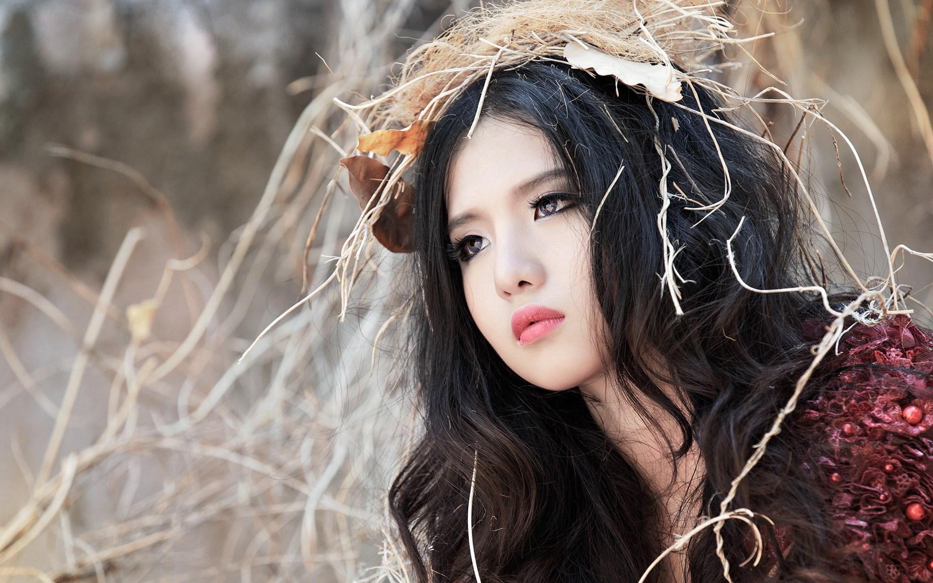 Brunette Girl Asian Autumn