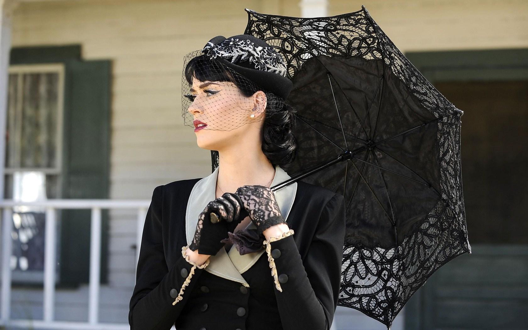 Beautiful Katy Perry Brunette Singer Umbrella HD Wallpaper