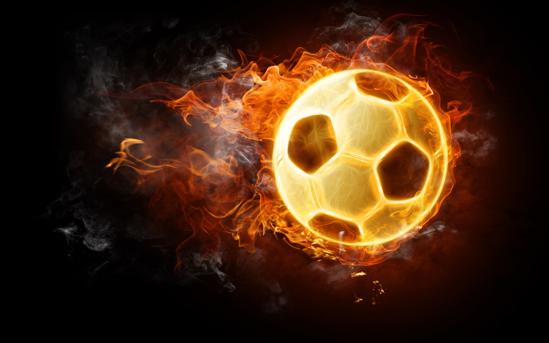 Burning Soccer Ball Wallpaper in 1920x1200 Widescreen