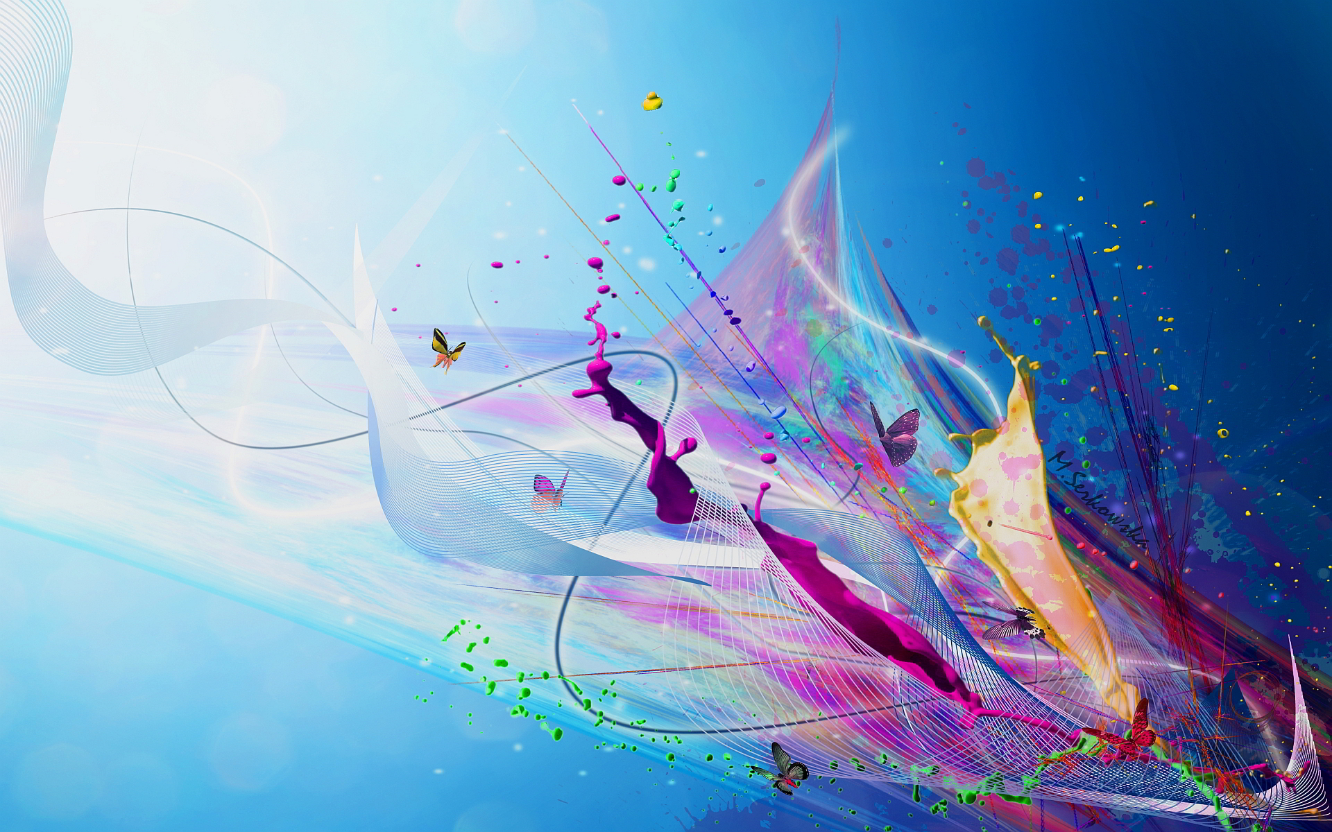 Butterflies abstract splash art