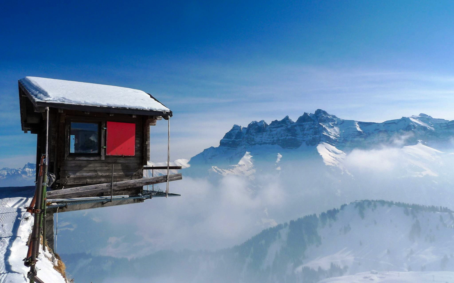 Cabin over mountain edge