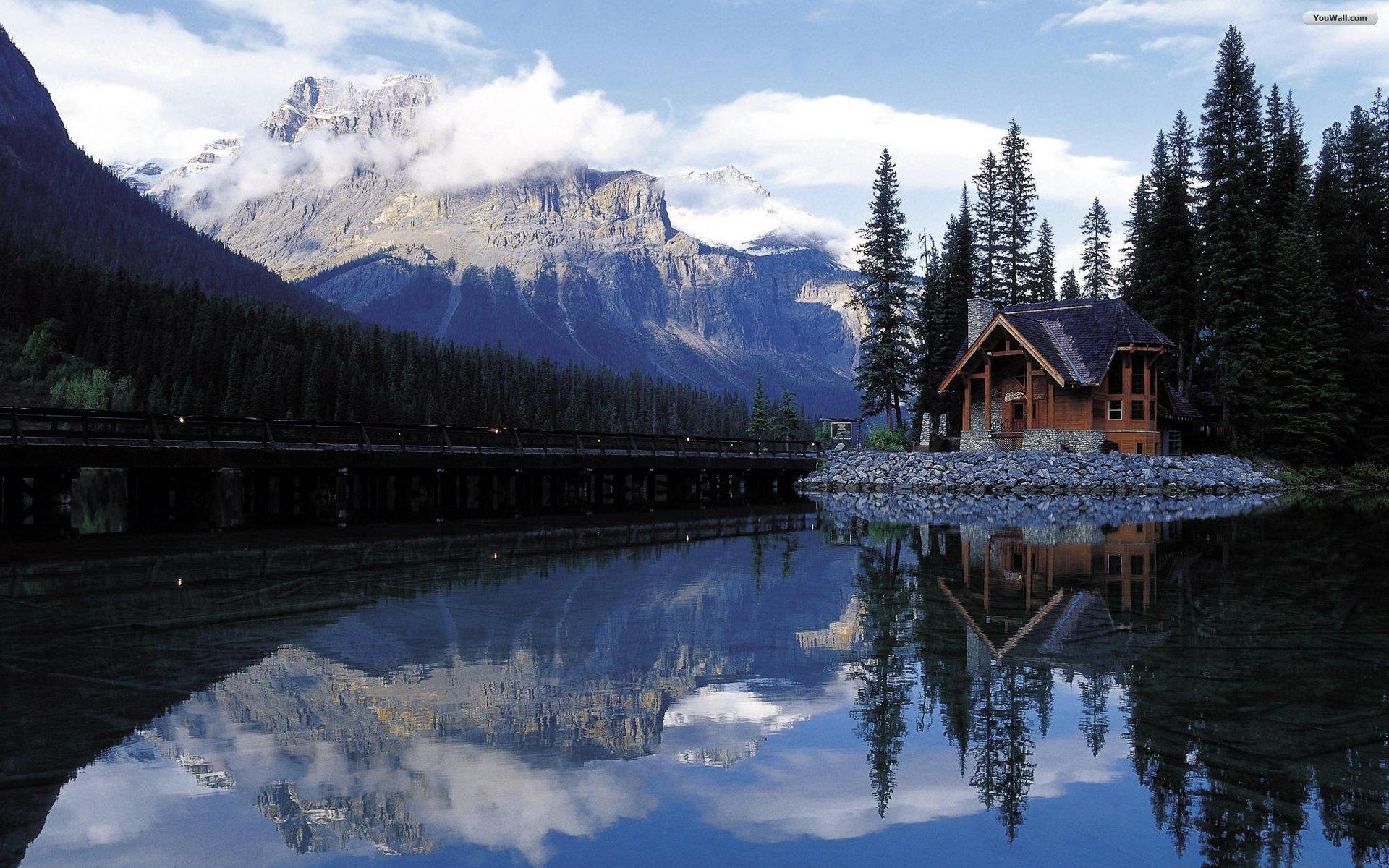 Mountain Cabin Lake Wallpapers