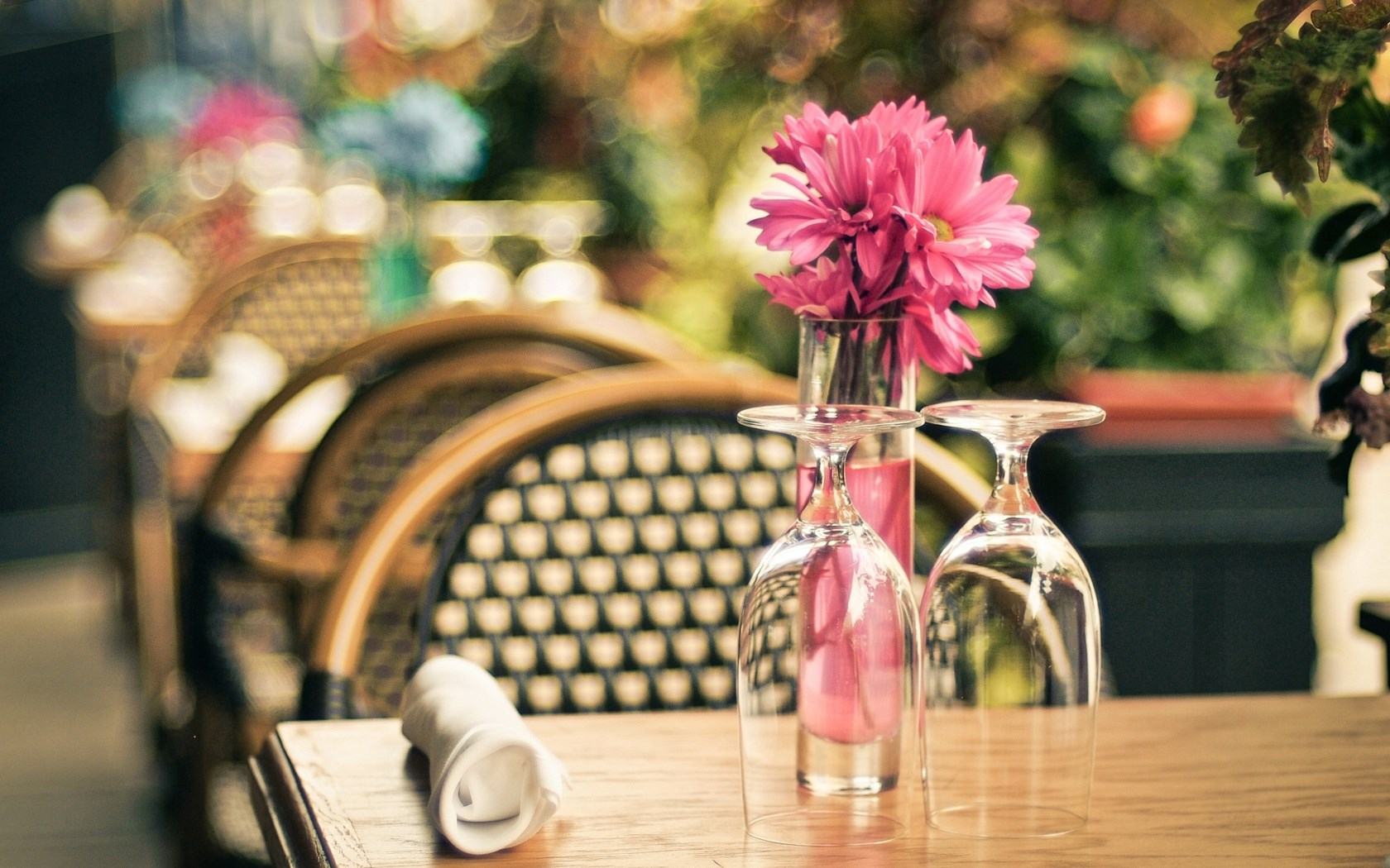 Cafe Table Flowers Pink Vase