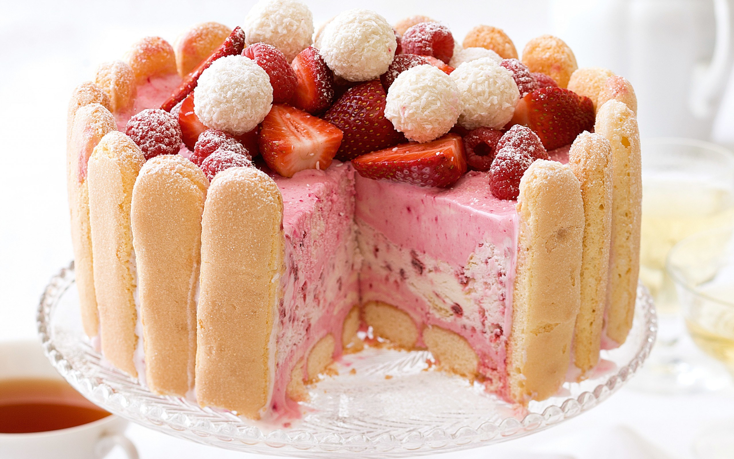 Cake Strawberries Berries Dessert Sweet