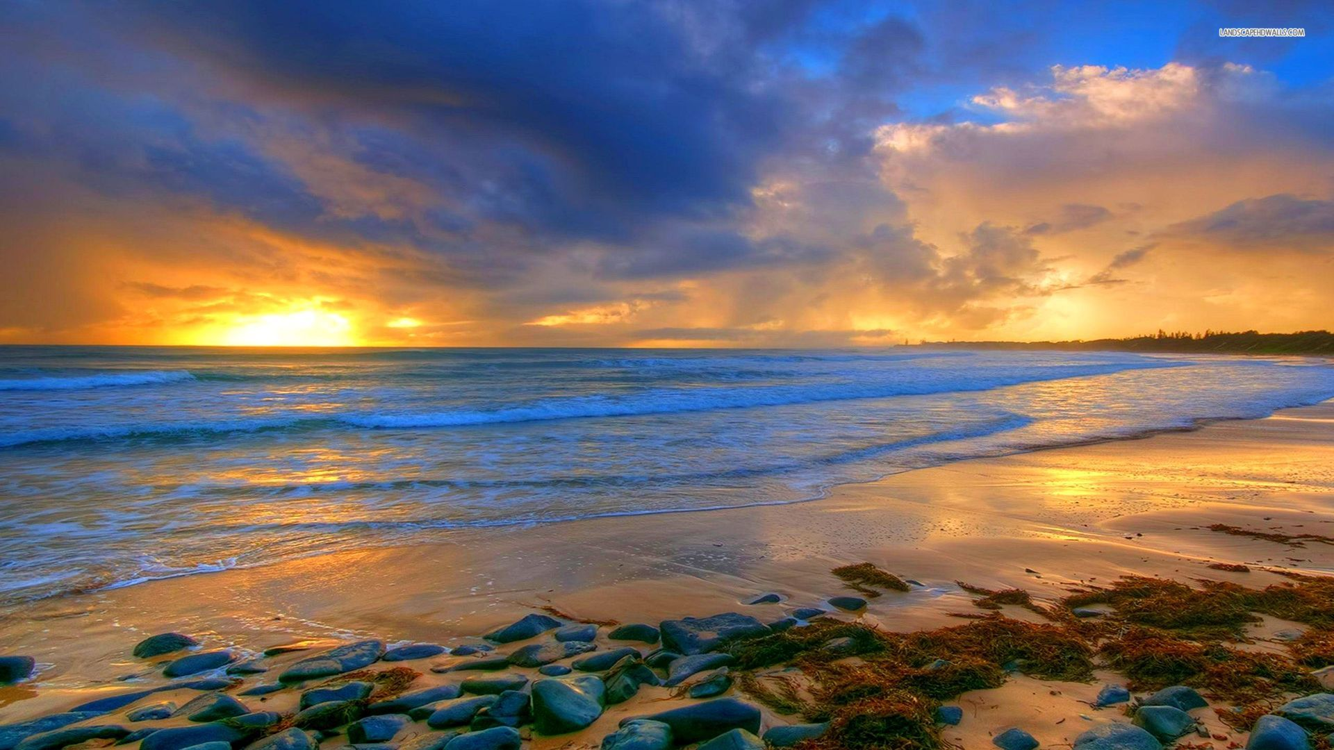 ... Calm beach in the sunset wallpaper 1920x1080 1080p ...