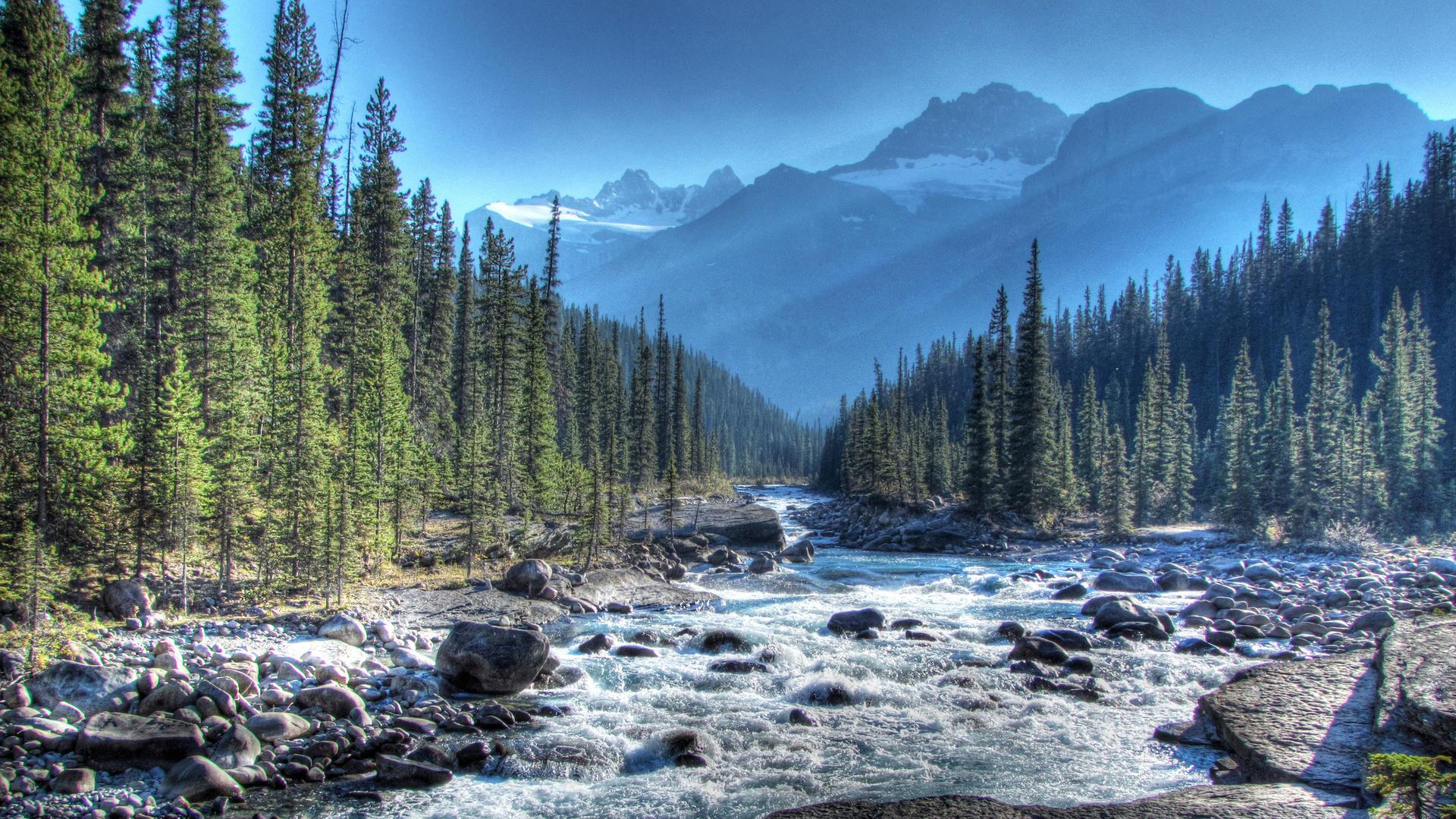 wild mistaya river in alberta canada hdr HQ Wallpaper