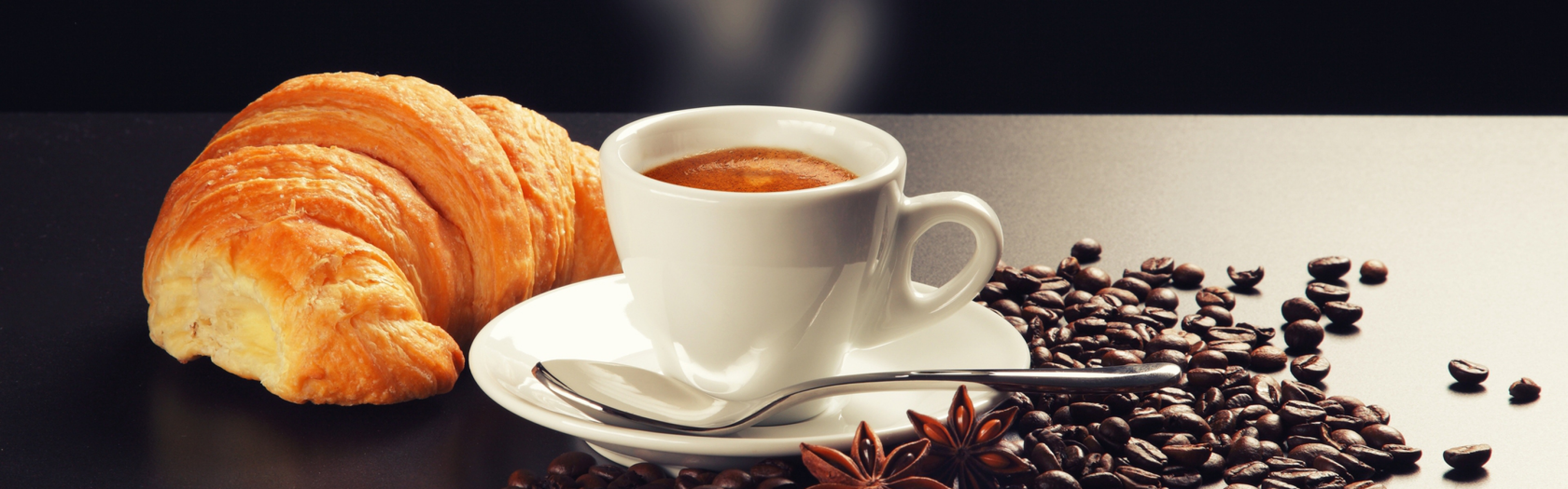 3840x1200 Wallpaper saucer, coffee, smoke, grain, spoon, cappuccino, foam,