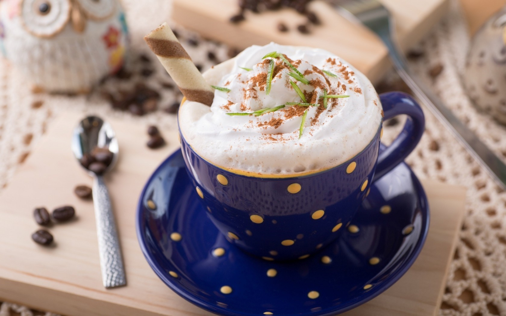 Cappuccino Coffee Cream Cup Blue