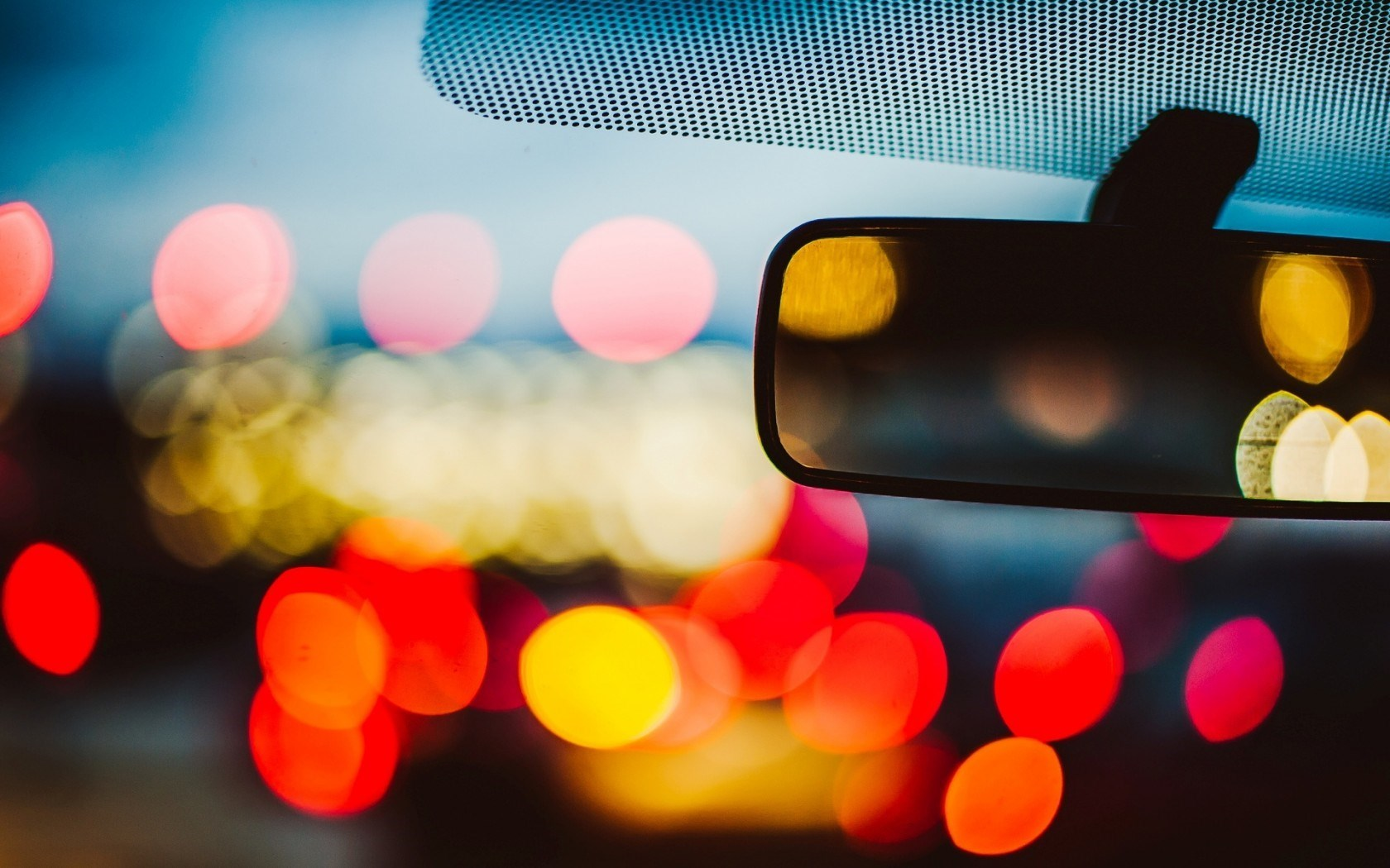 Car Mirror Bokeh Lights