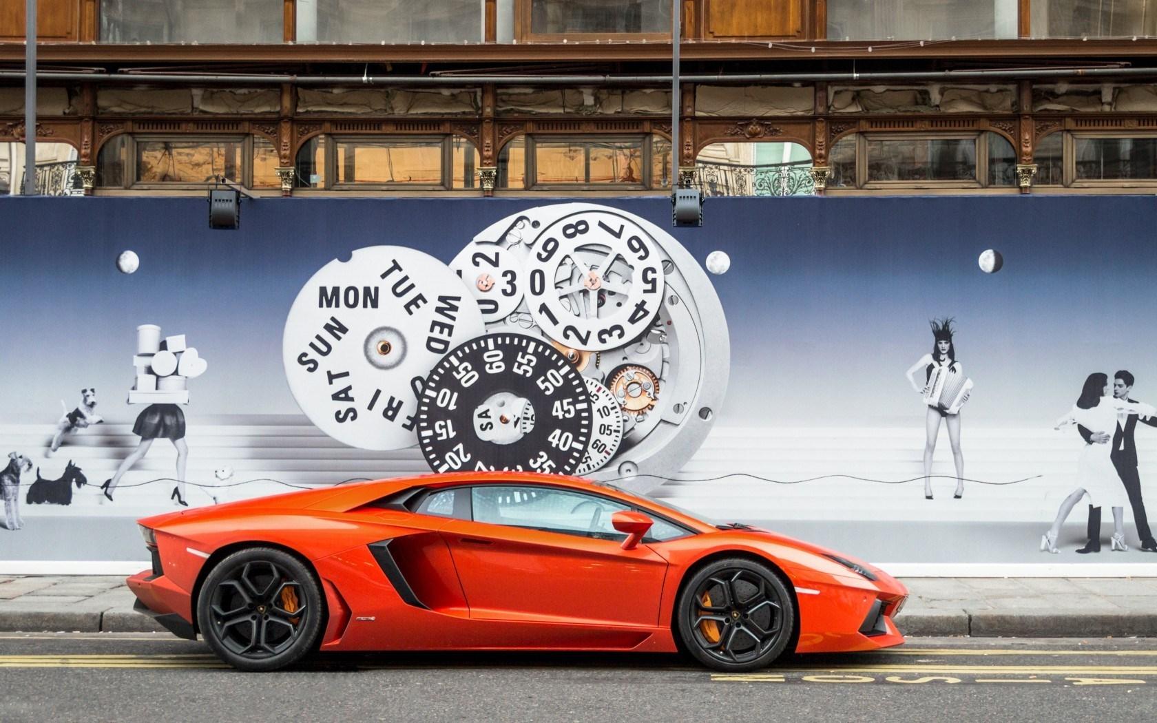 Car Lamborghini Aventador LP700-4 Orange