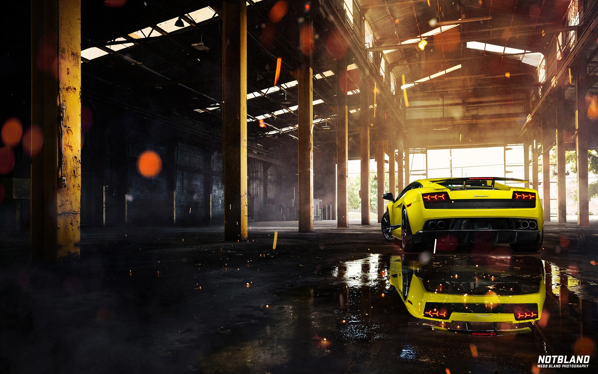 Car Lamborghini Gallardo Superleggera Yellow Back Warehouse