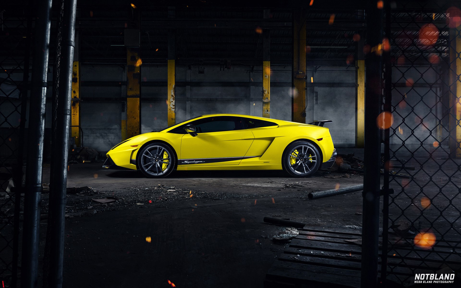 Car Lamborghini Gallardo Superleggera Yellow Side Warehouse