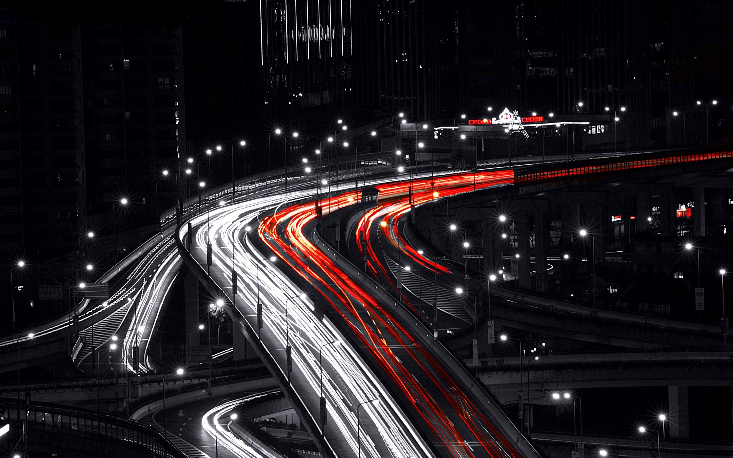 White And Red Car Lights Exposure Wallpaper 2560x1600