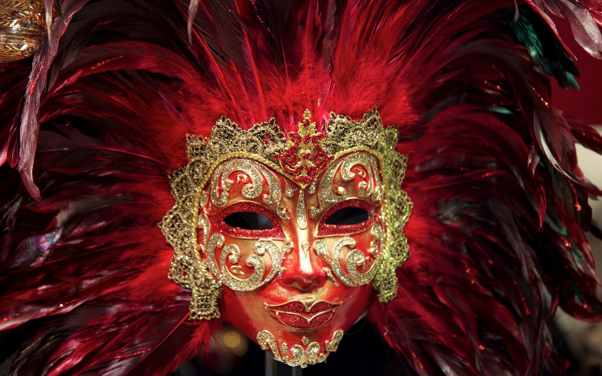 Download high quality 1920 x 1200 Feather Carnival Mask Wallpaper.