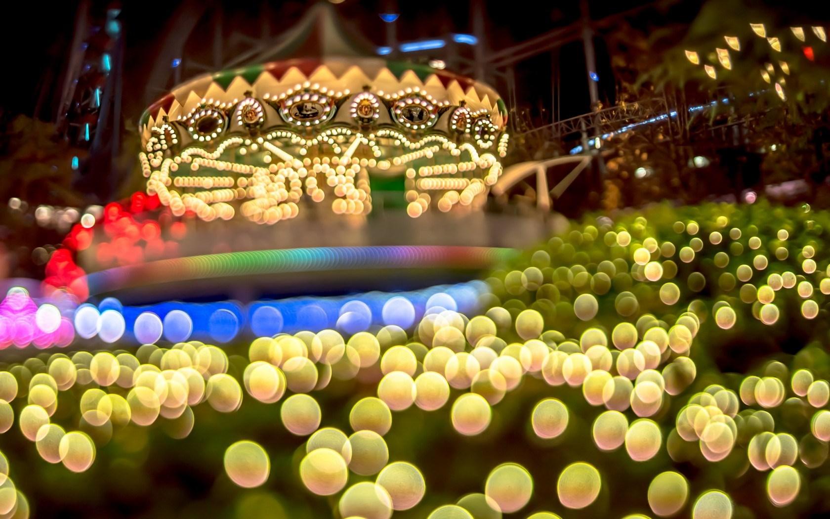 Carousel Bokeh Lights Night