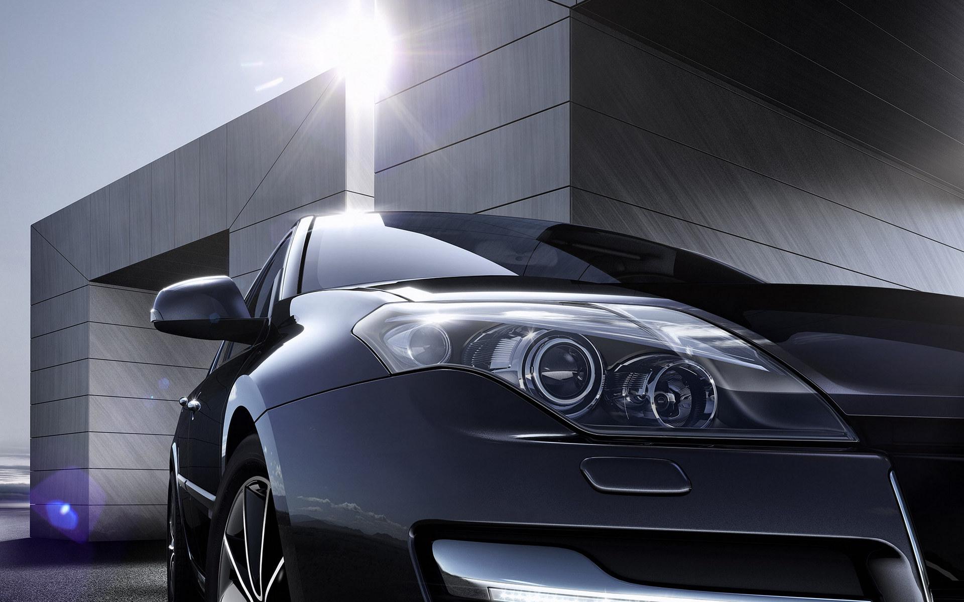 Black Car Headlight Closeup