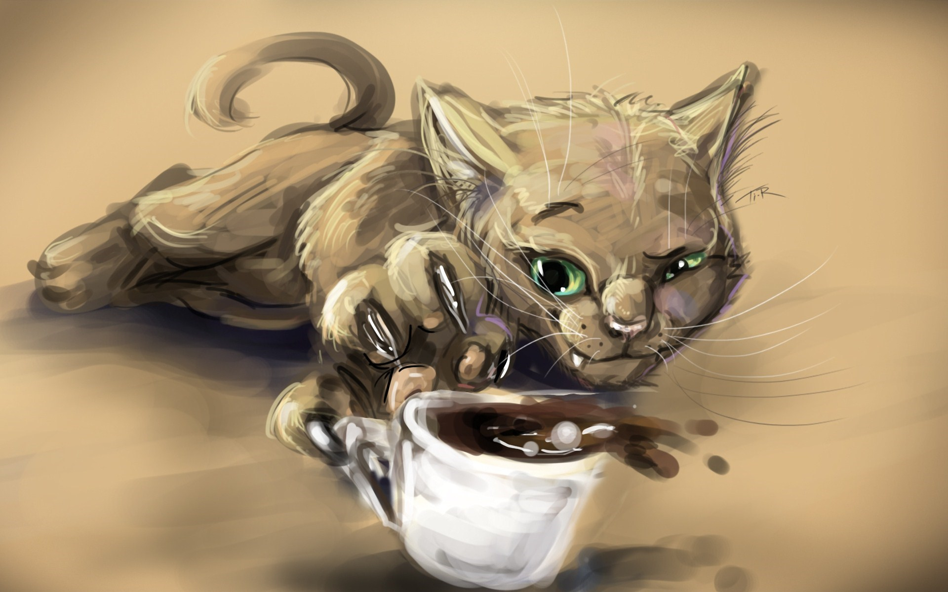 Cat Cup Coffee Artwork
