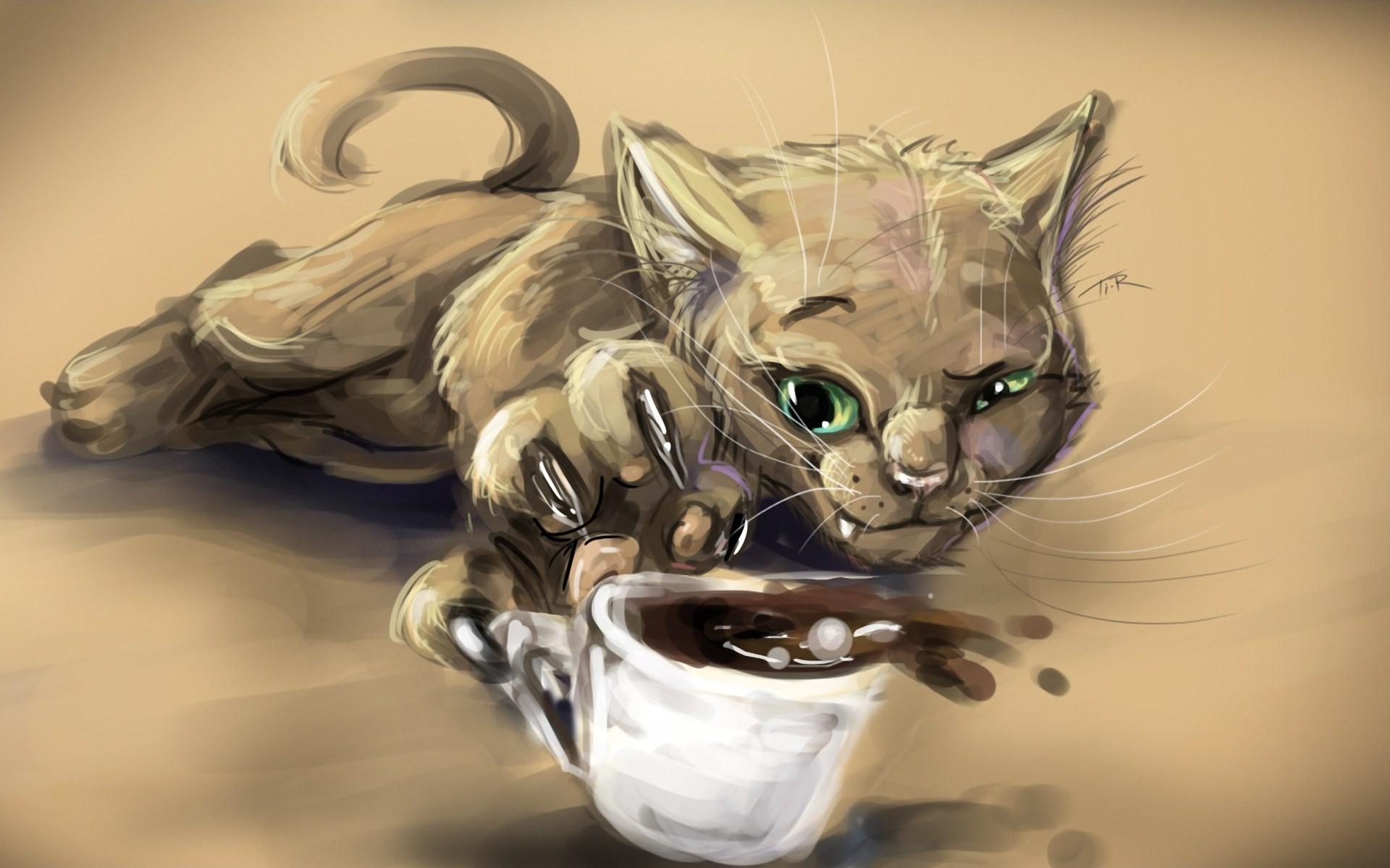 Cat Cup Coffee Artwork
