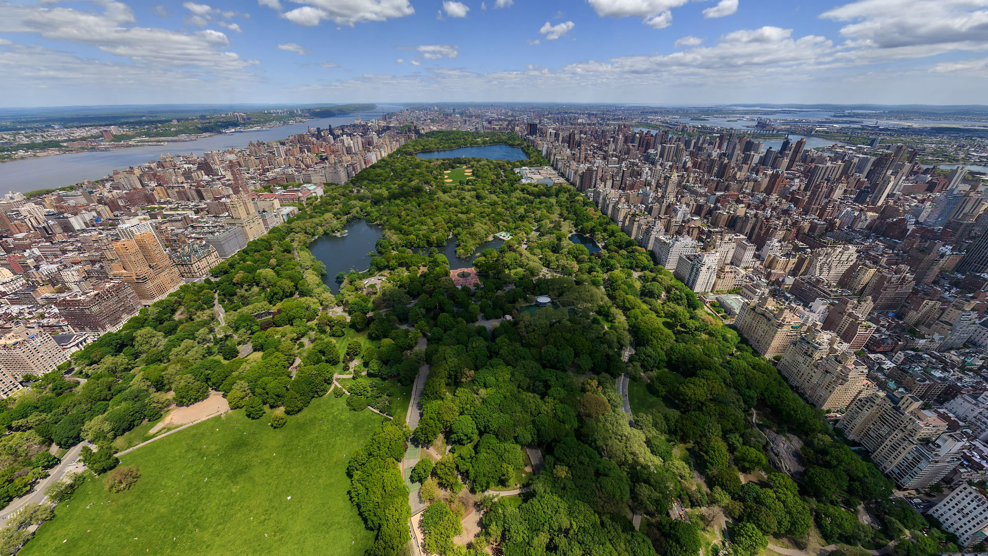 Aerial view central park new york united states