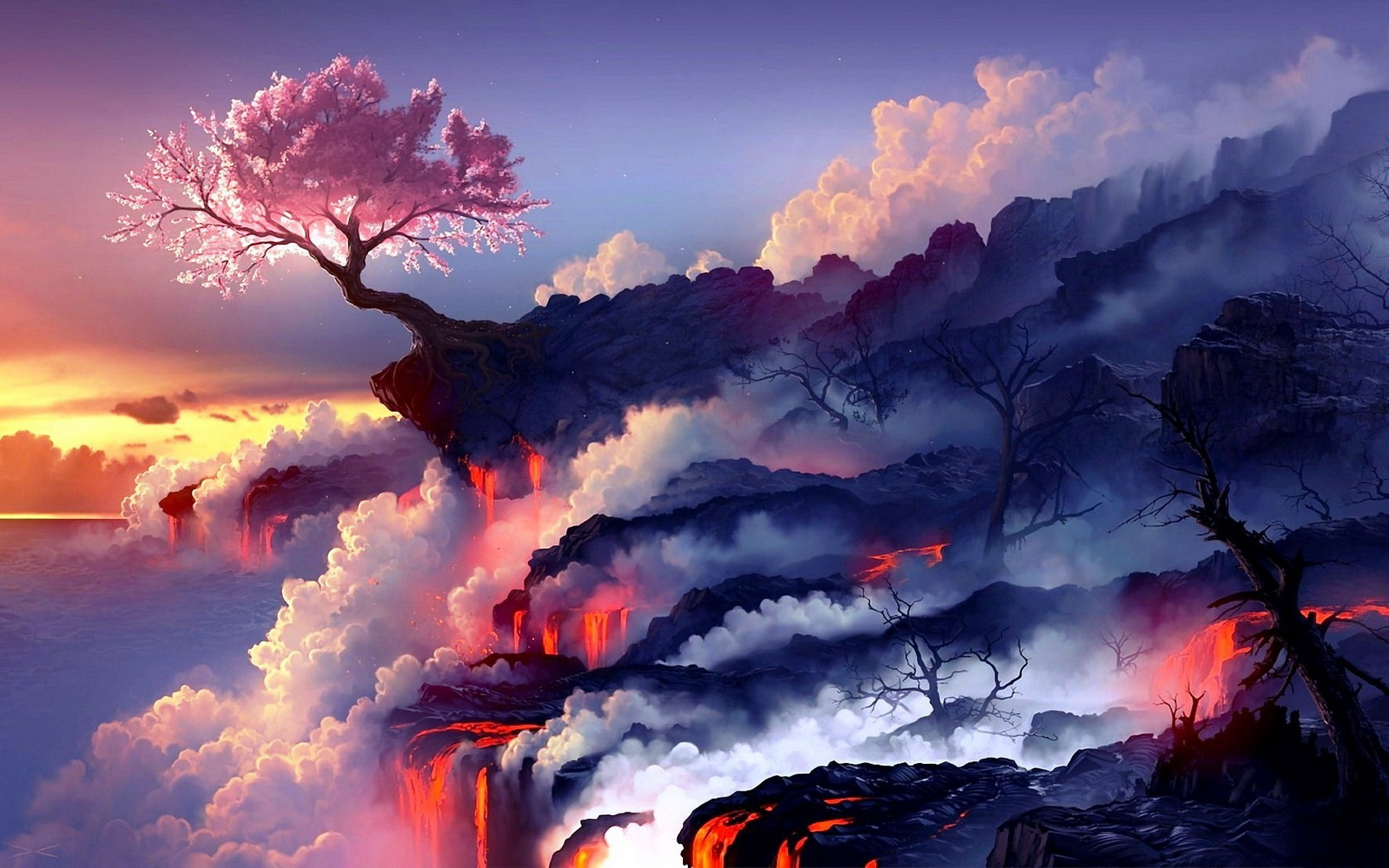 Cherry blossoms and lava ...
