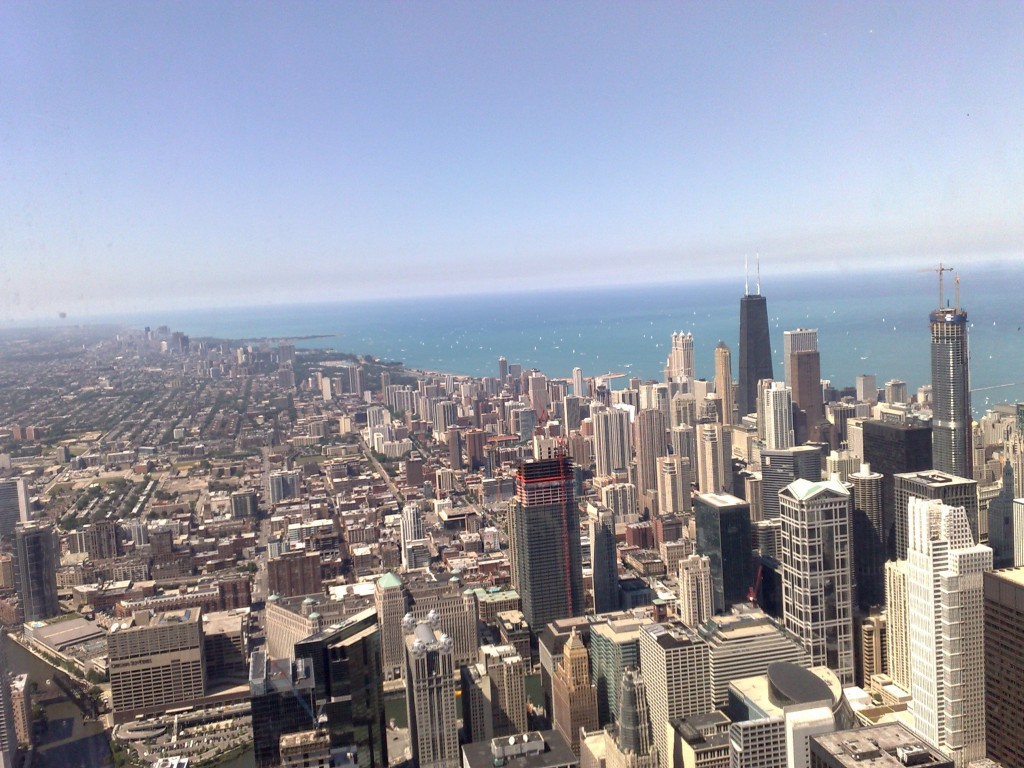 View of Chicago city from the Sears sky deck