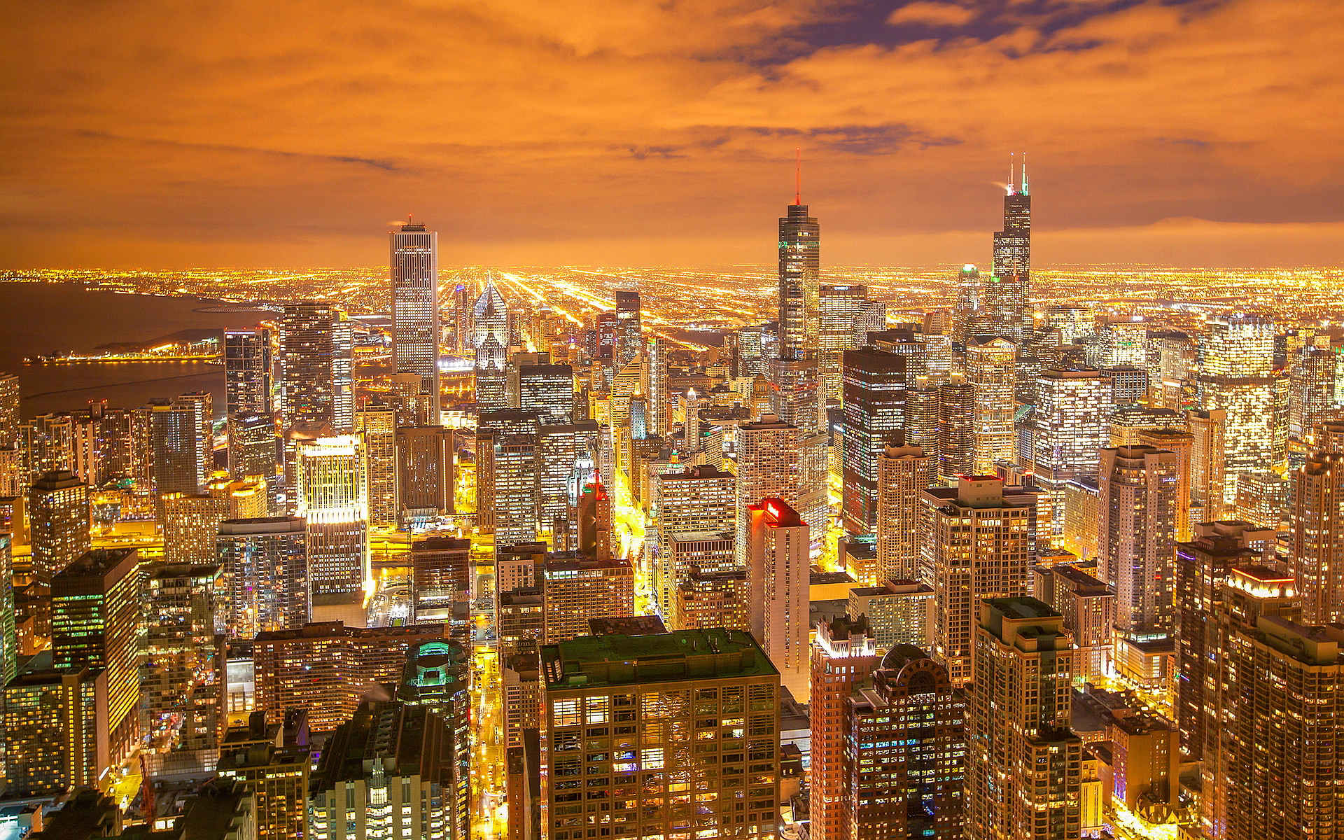 Chicago night city view
