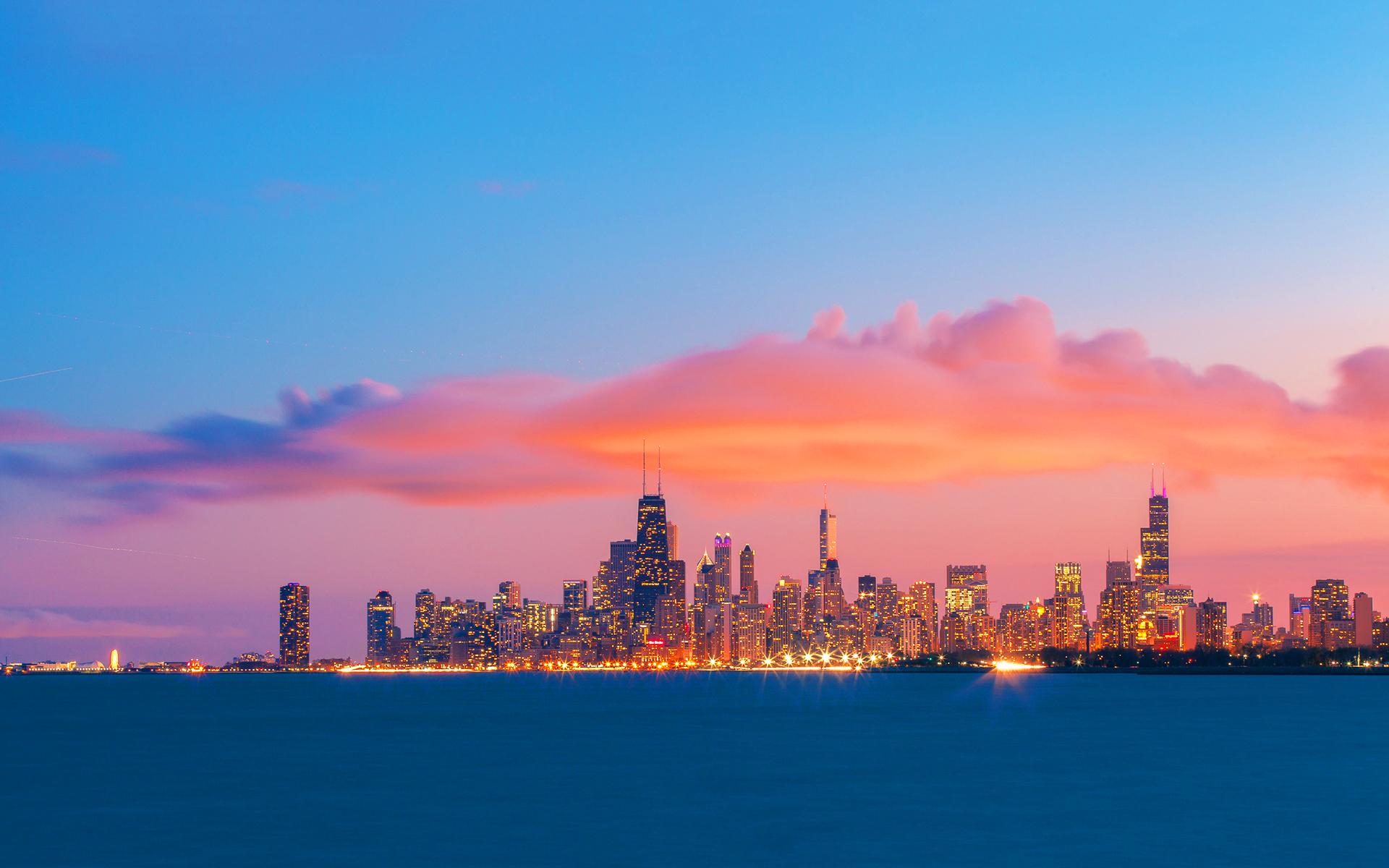 Chicago skyline evening sunset