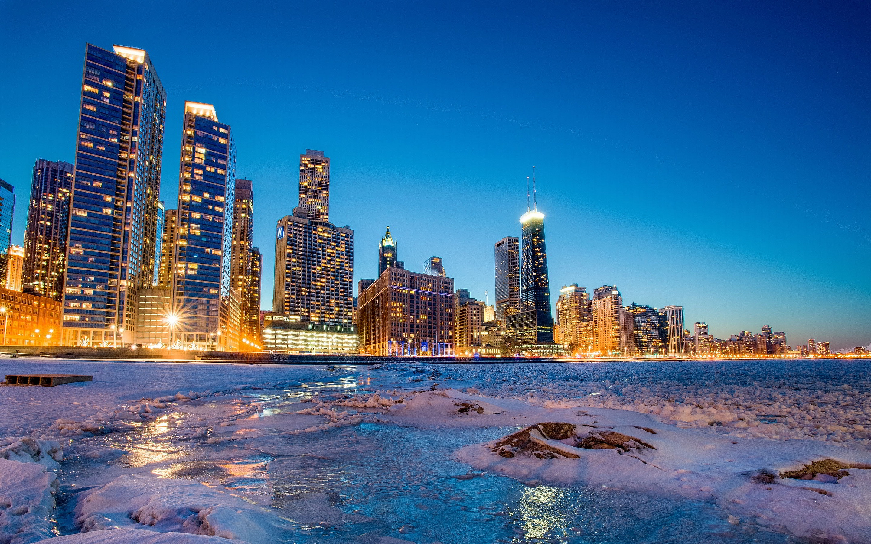 Chicago skyline winter