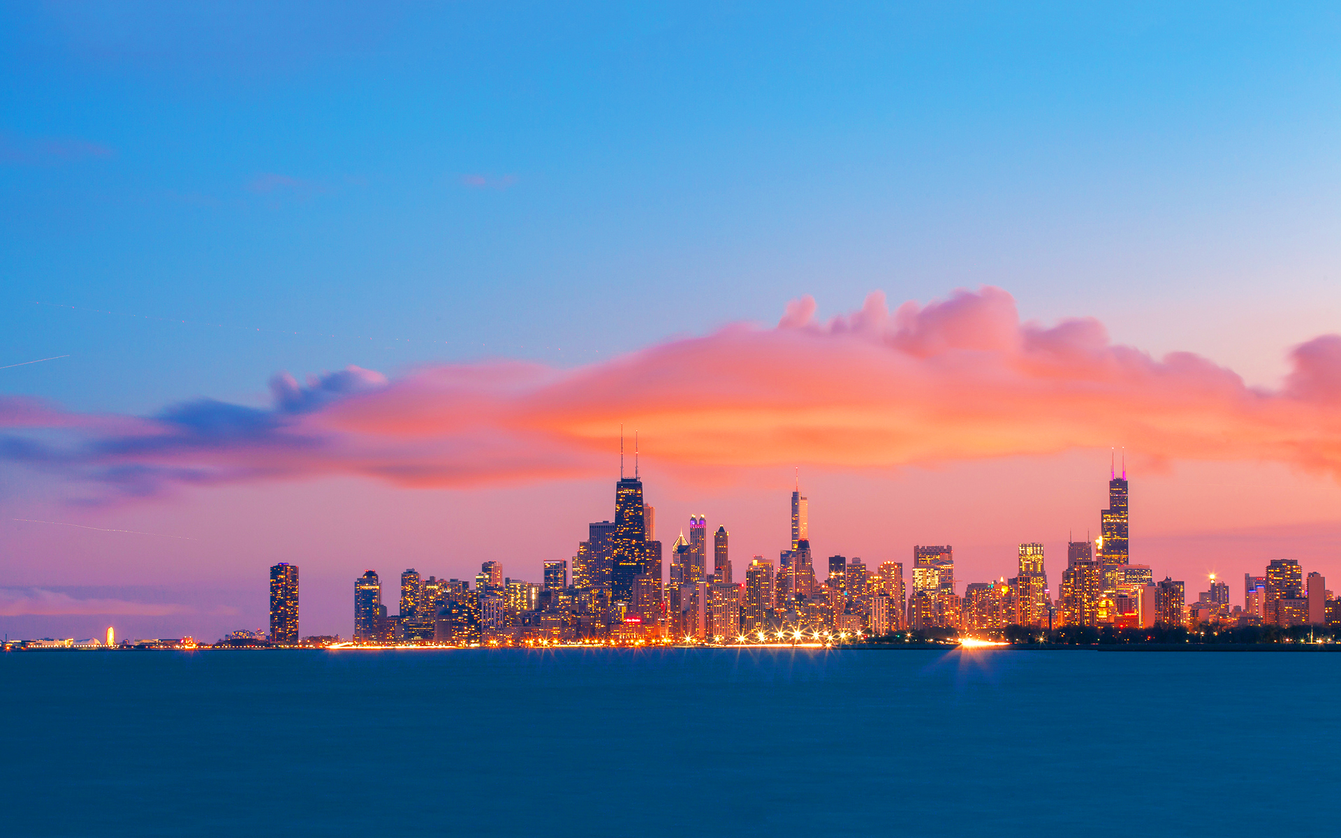Chicago skyline evening sunset