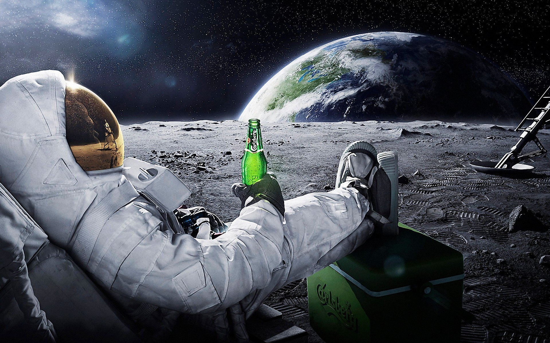 Astronaut chilling on the moon with beer wallpaper 1920x1200 HQ WALLPAPER - (#34676)