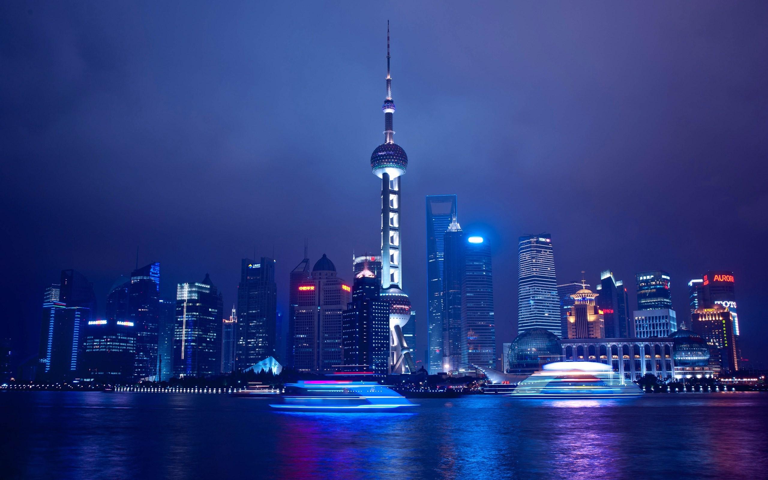 Shanghai China City The Oriental Pearl Tower Blue Sea Night HD Wallpaper
