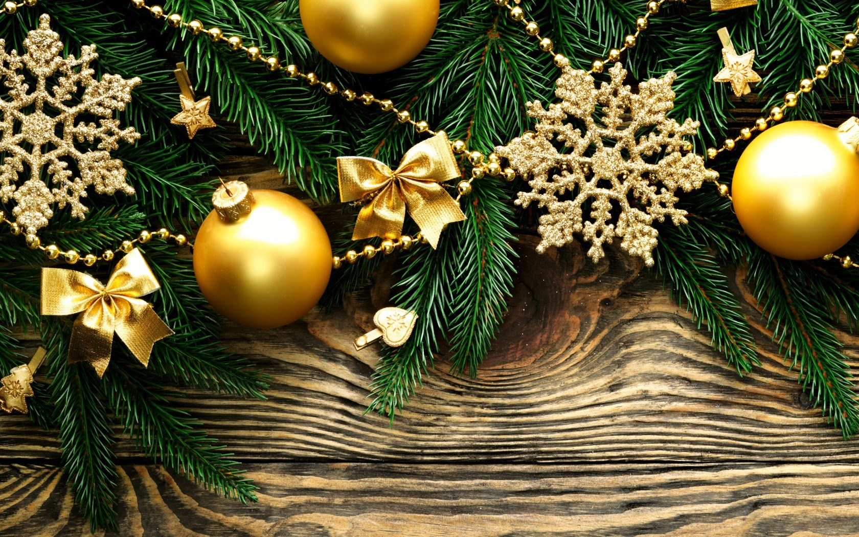 Christmas Balls Gold Snowflakes Stars Branches Spruce New Year