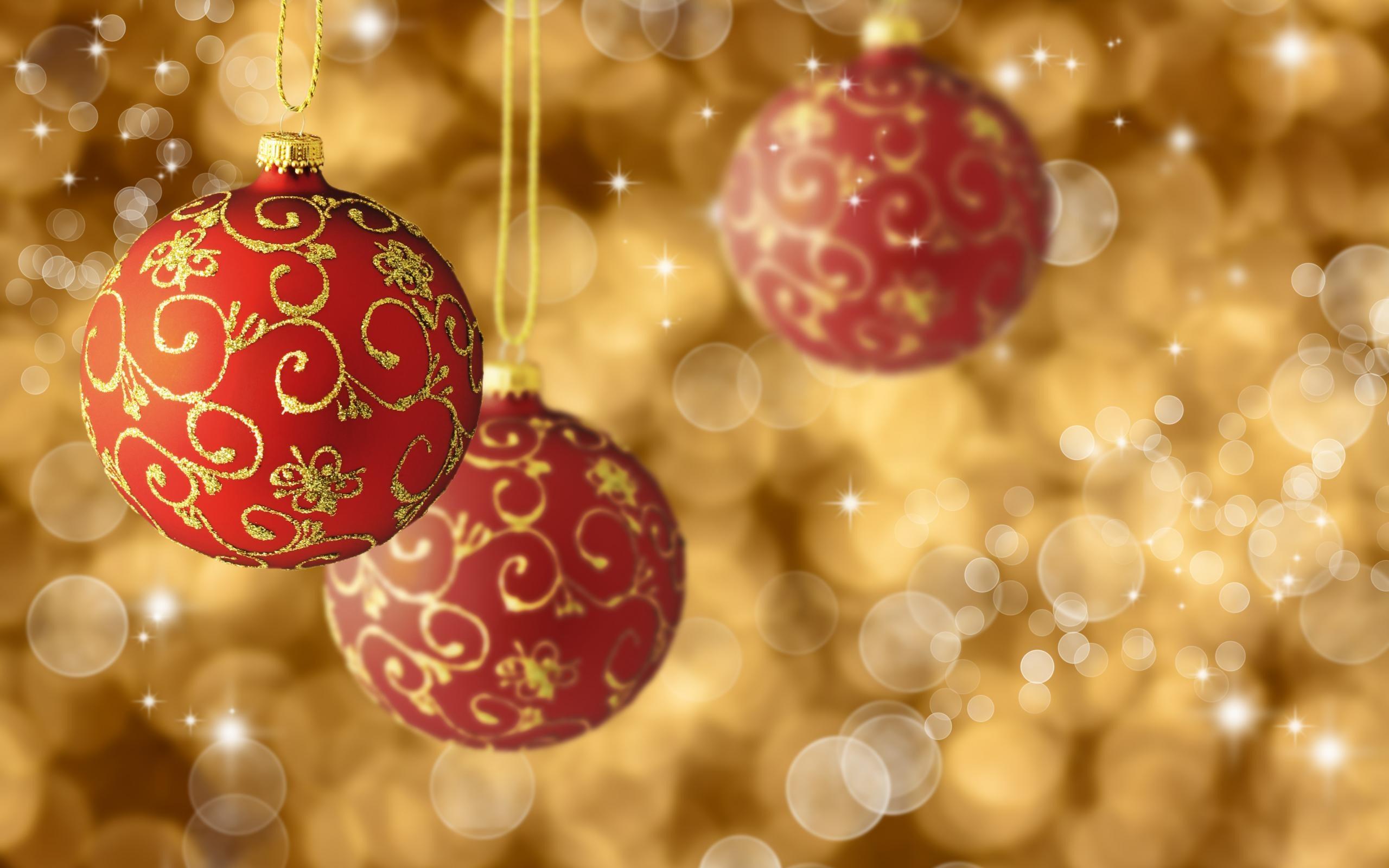 New Year Christmas Red Balls Holiday Bokeh Stars HD Wallpaper