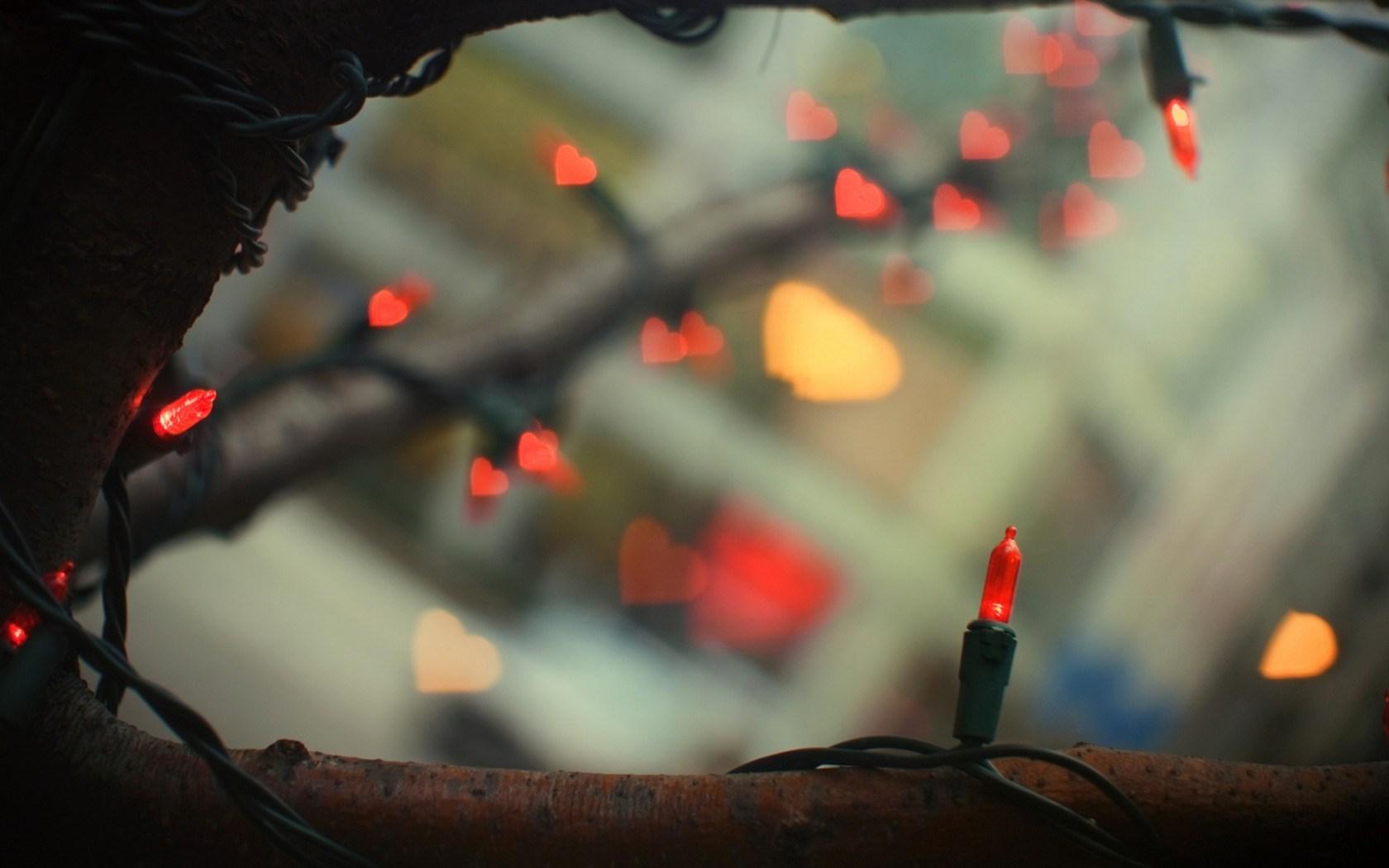 Christmas Garland Lights Hearts Bokeh Tree Branches Winter New Year