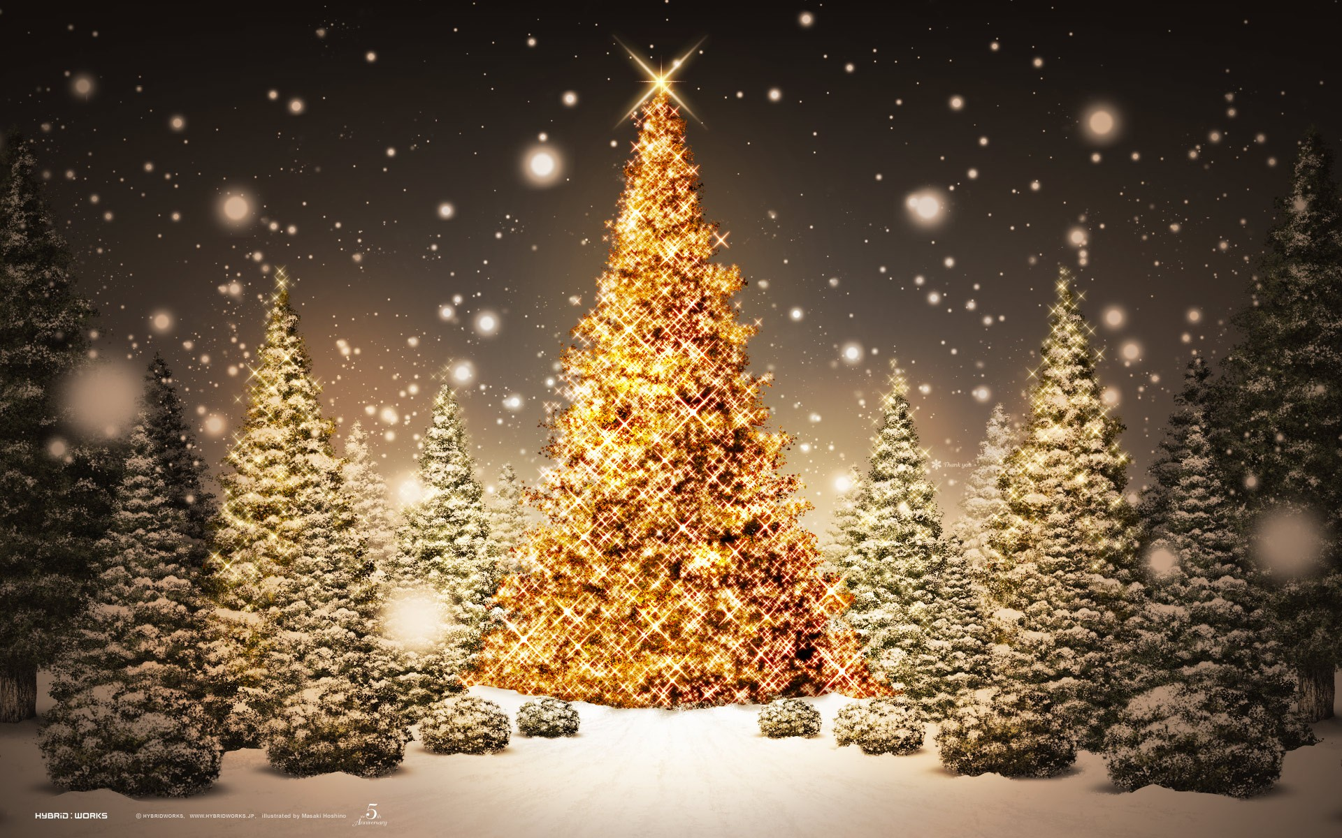 Golden Christmas Tree Wallpaper