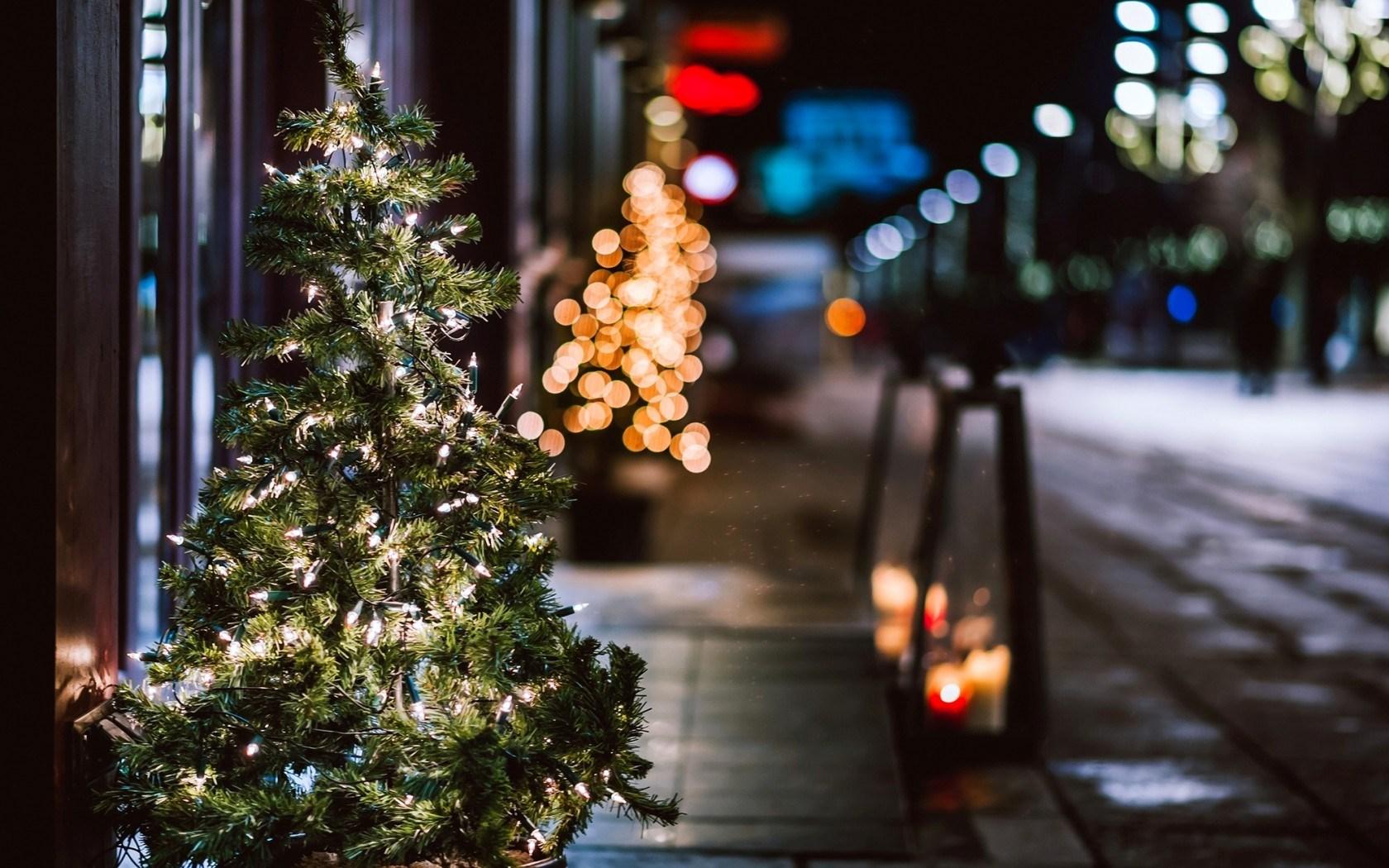 Christmas Tree Garland Lights City Street Night Winter