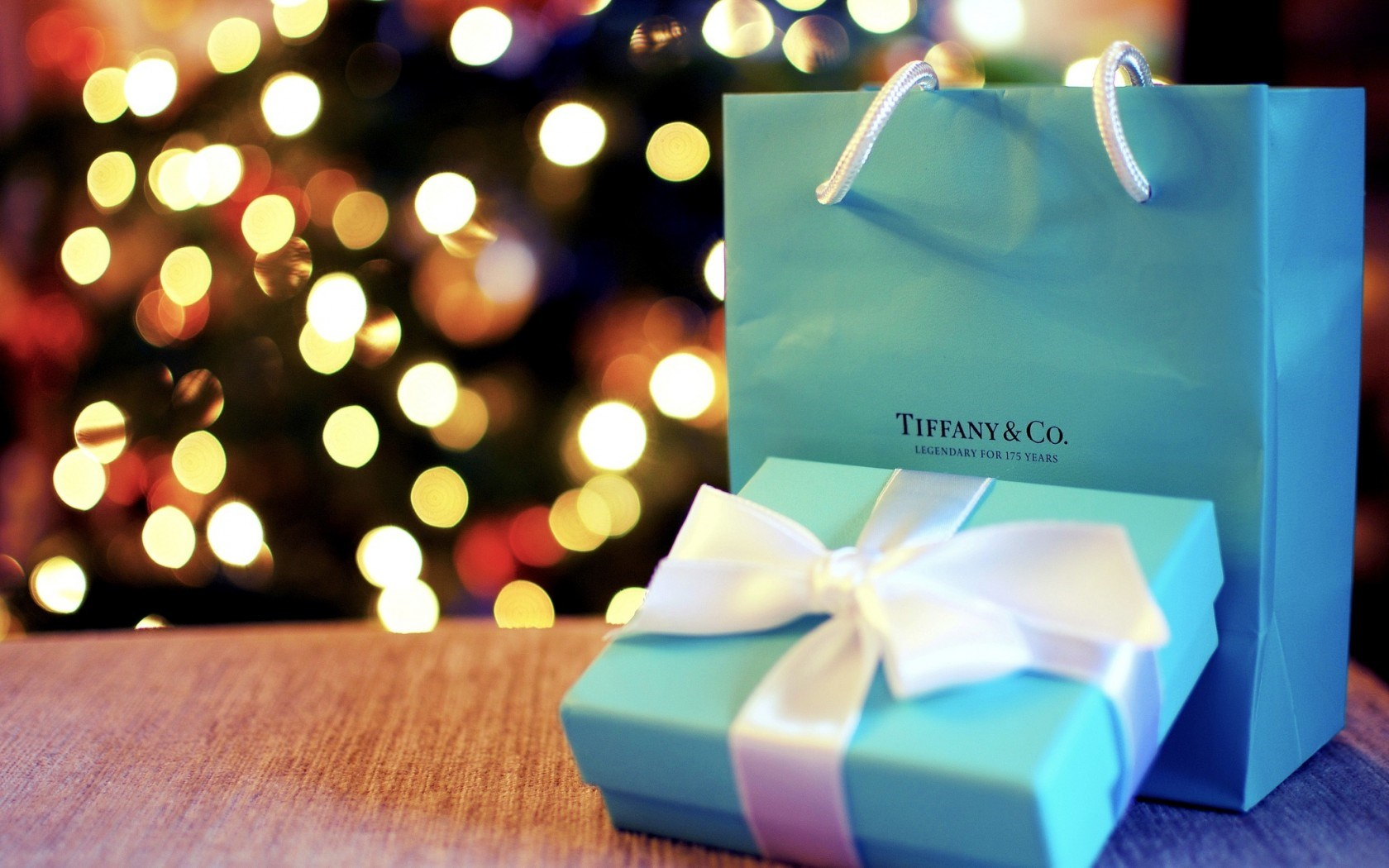 Christmas Tree Lights Holiday Gift Blue Box Ribbon Bow Bag Bokeh