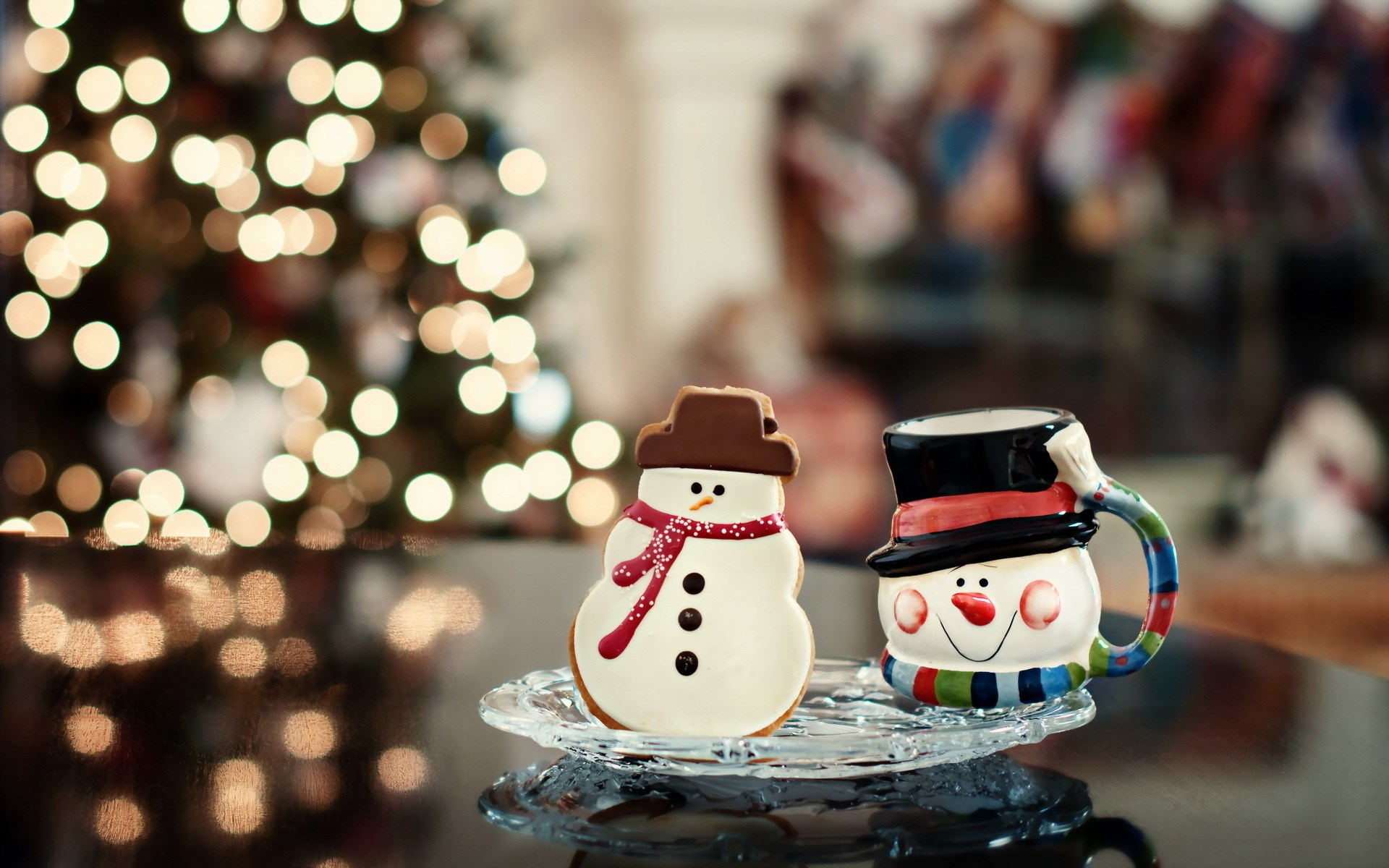Christmas Tree Lights Snowman New Year