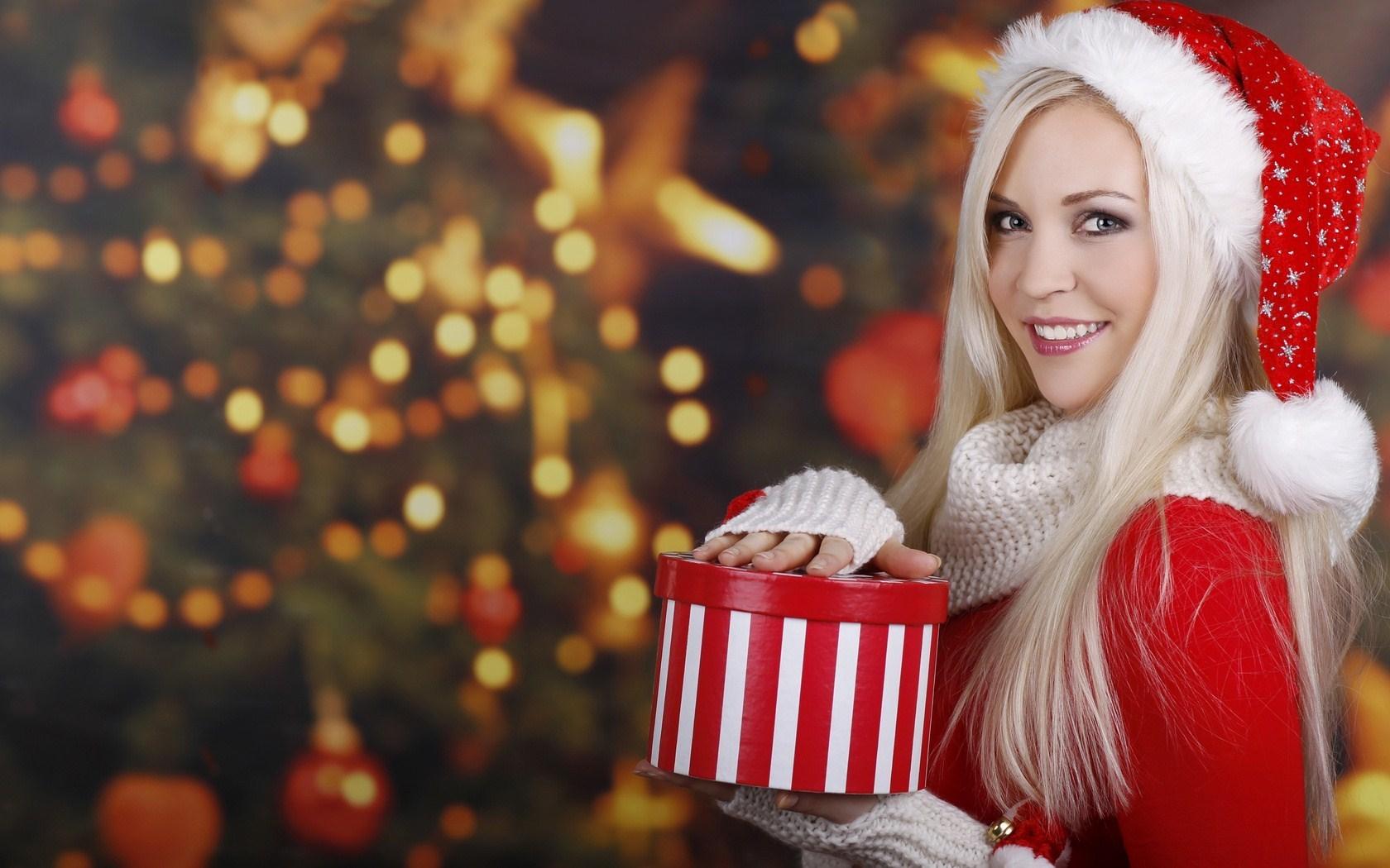 Christmas Tree Santa Claus Blonde Girl Smile Gift Winter