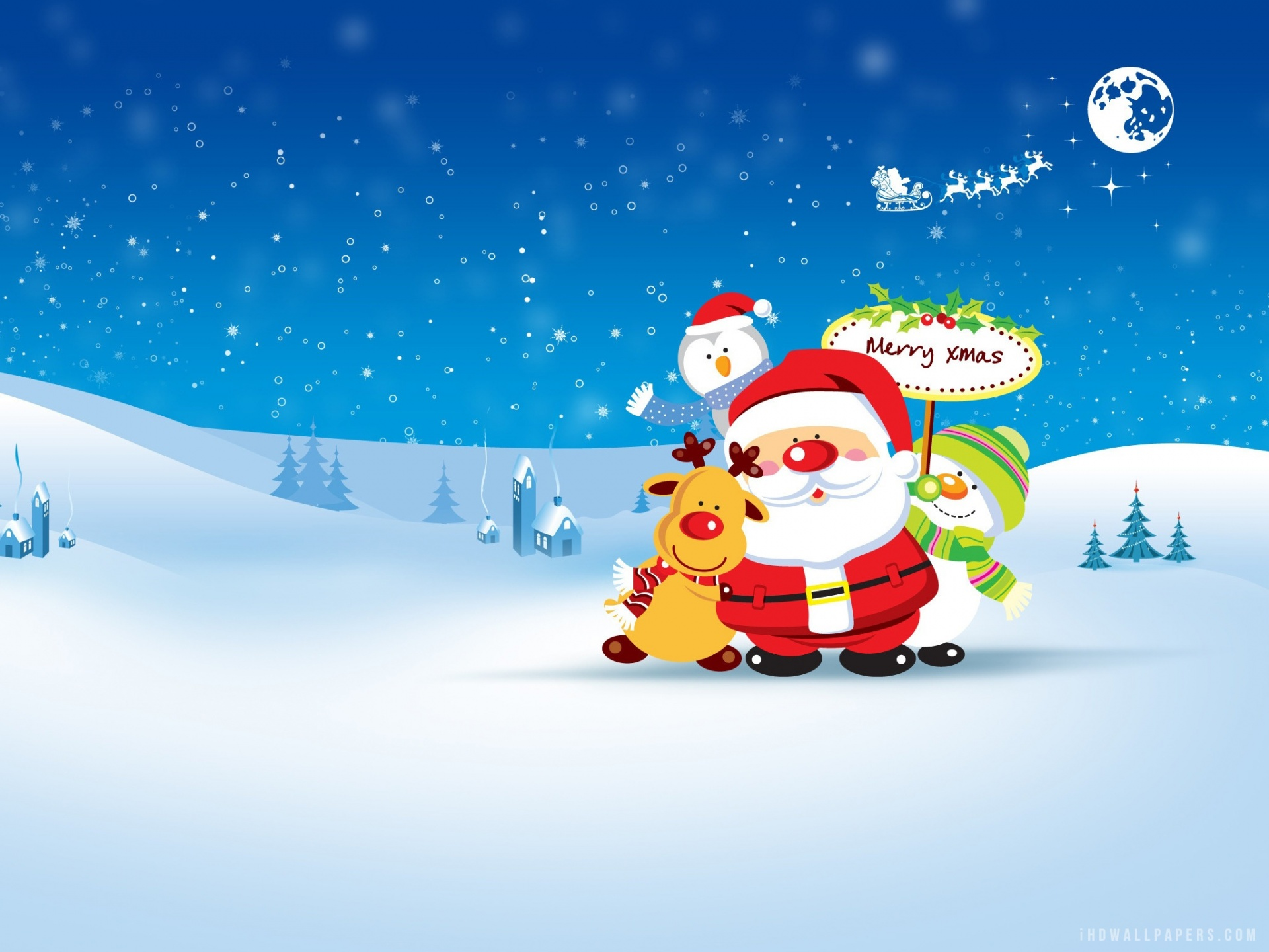 Christmas iPhone Snowman HD Wallpaper