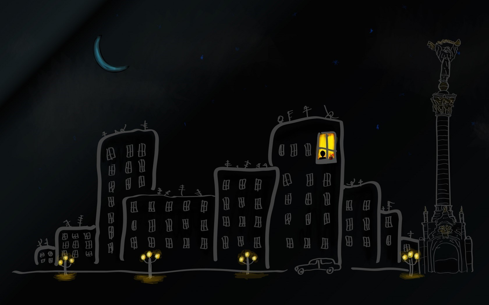 City Buildings Street Car Lights Sky Stars Moon Night Art