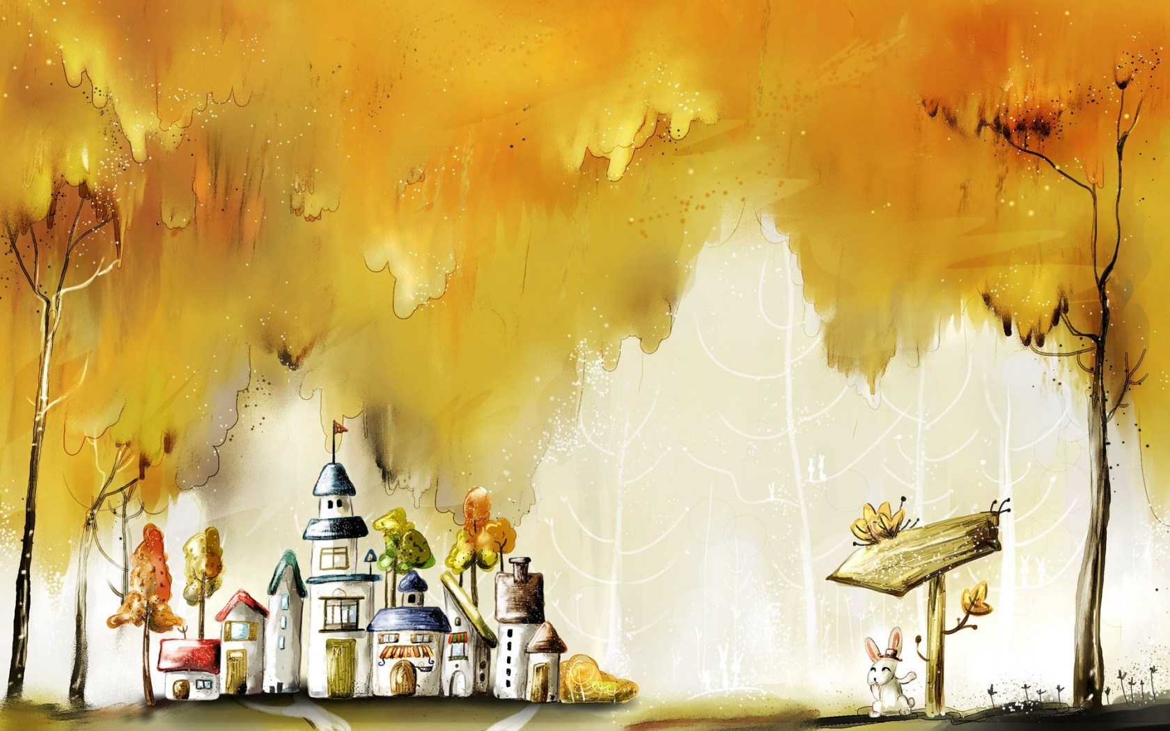 City Houses Autumn Trees Bunny Fairy Tale Drawing Painting