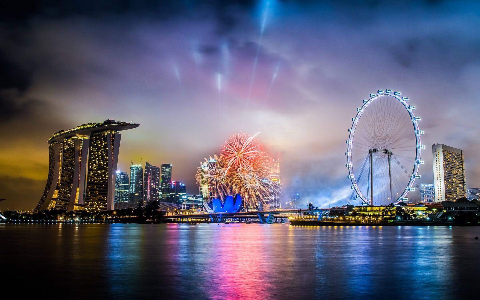 City Singapore Night Holiday Fireworks