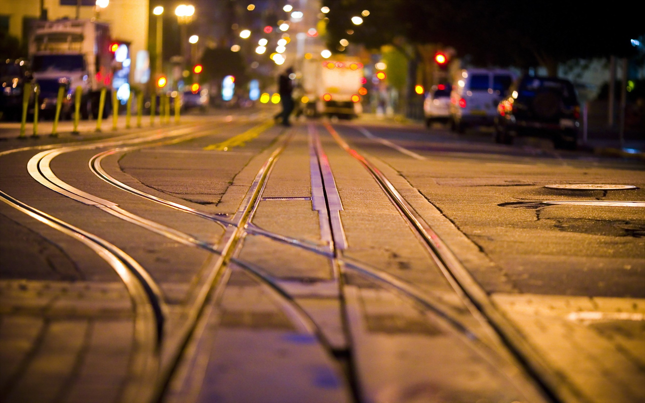 City Street Rails Night