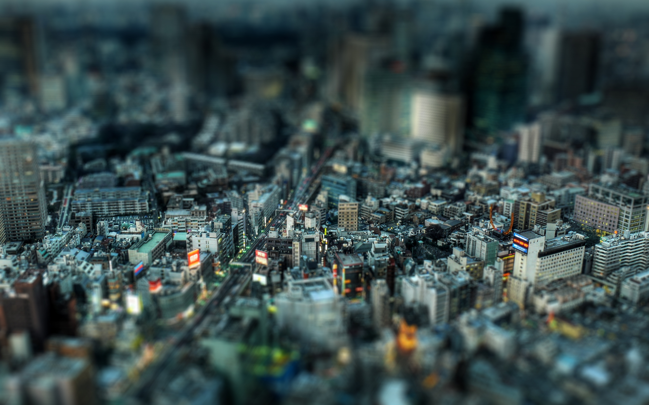 tilt shift effect toy city