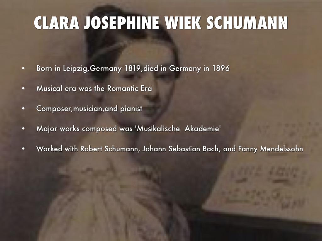 CLARA JOSEPHINE WIEK SCHUMANN