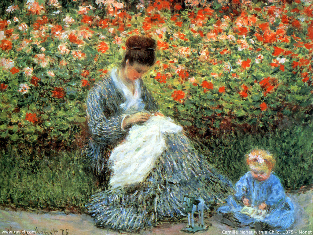 Camille Monet and a Child in the Artist's Garden in Argenteuil - Claude Monet